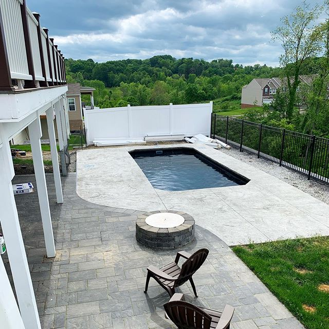 Our team recently wrapped this #plungepool in #carnegiepa!  What do you think of the black gelcoat?? #pittsburghpools #pittsburgh #412