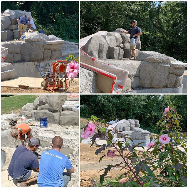 The Dream Team hard at work making up for lost time from yesterday's Microburst!  #buildingdreams #dreambuilder #pittsburghpools #pittsburgh #handcarved