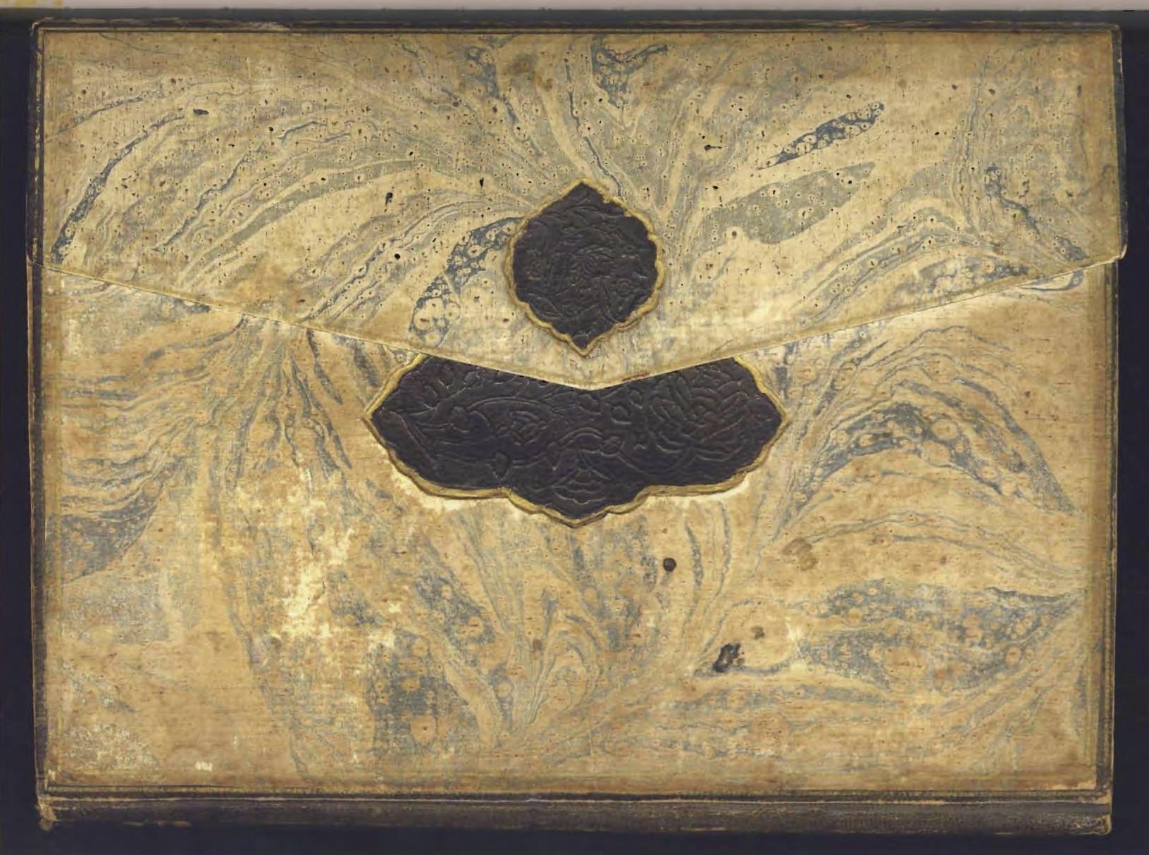 Binding made of blue-and-white marbled paper, Ibrahim Muteferrika's  Tarihu'l-Hindi'l-Garbi el-Musemma bi Hadis-i Nev, 1142/1730, 22 x 16 cm, DR 403, M825. The Lilly Library, Indiana Univeristy, Bloomington.