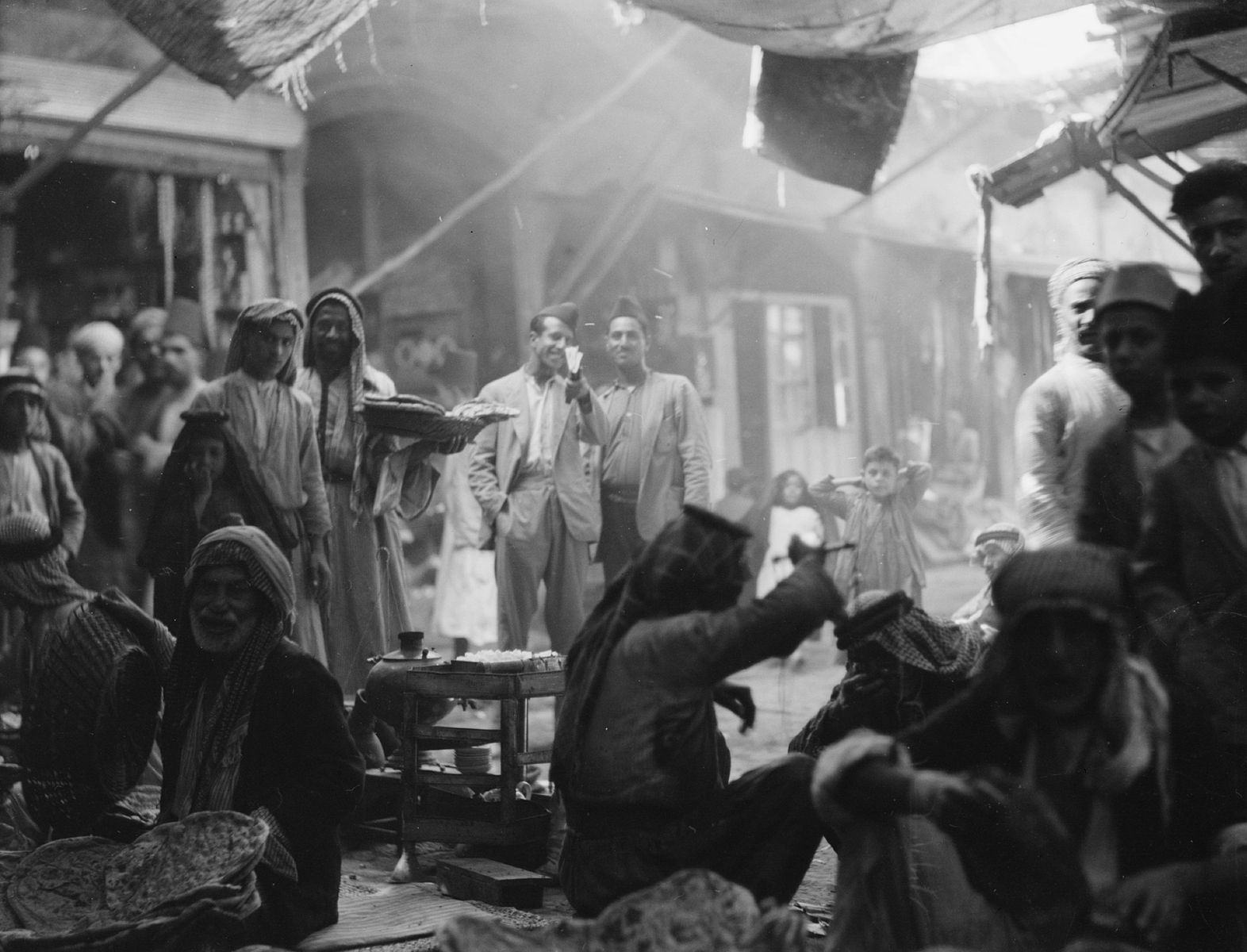 Iraqi market (Souk) in Mosul city, northern Iraq, between Sept. 26 and Oct. 12, 1932. G. Eric and Edith Matson Photograph Collection; Library of Congress LC-DIG-matpc-13267