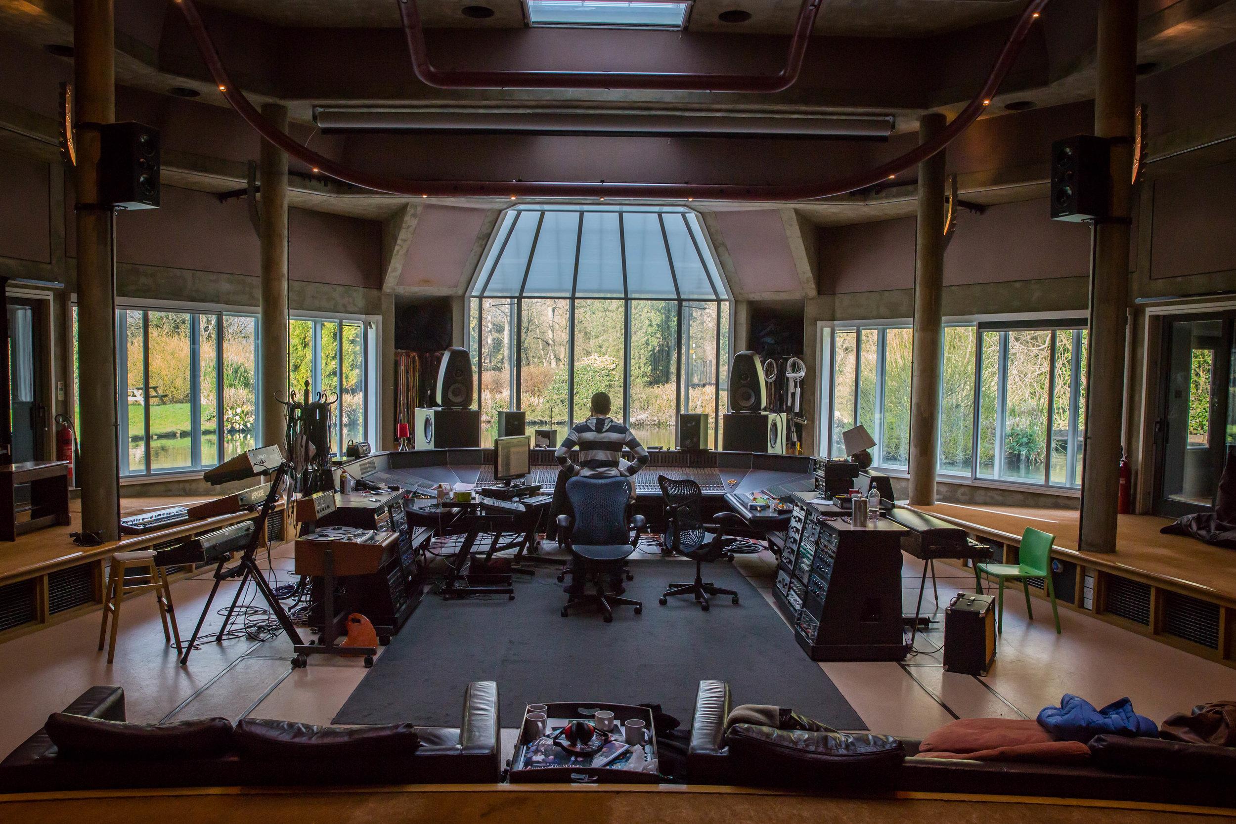 Omar Rahbany (center) in   Real World Studios, UK