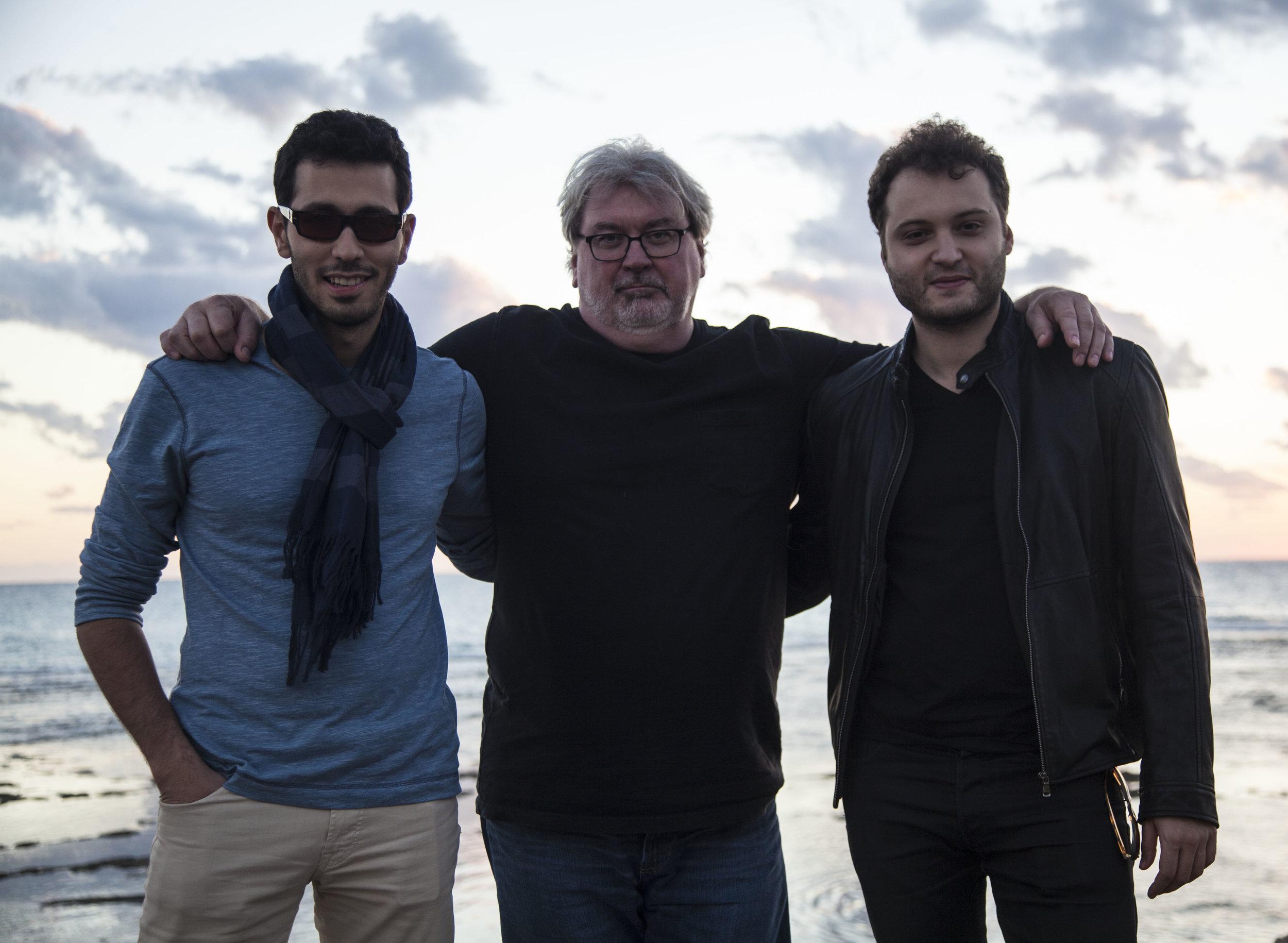 Omar Rahbany (left) with Steve Rodby (center) and Mahdi Yahya (right).