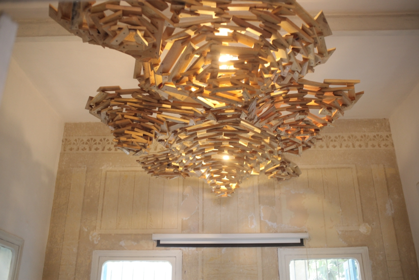 Wood chandelier at Haven for Artists headquarters  . With permission of Dayna A.