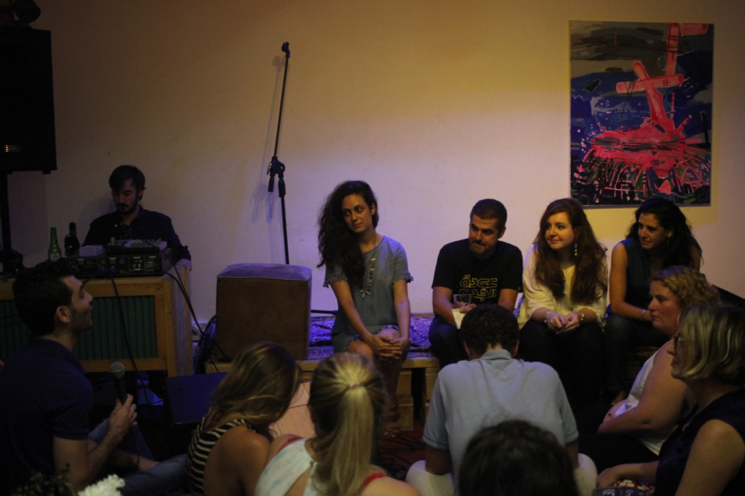 (L to R) Maya Gebeily, Nabih Bulos, Luna Safwan and Natalia Sancha, at a Q&A session during live recording of final episode of The Byline. Taken August 2017 by Tamara Rasamny.