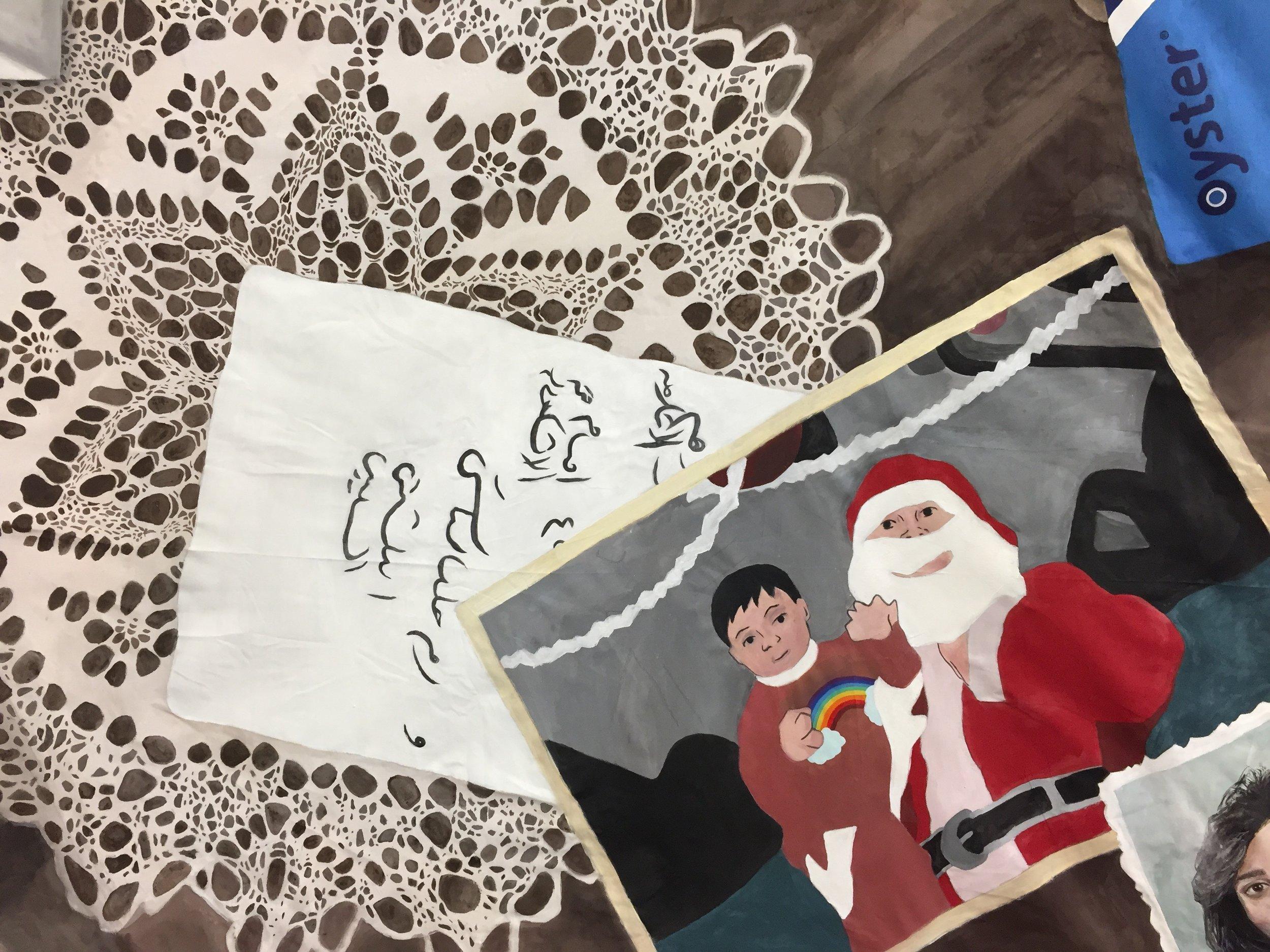 Detail of  December Child , Nada Elkalaawy, acrylics on cotton, 2017