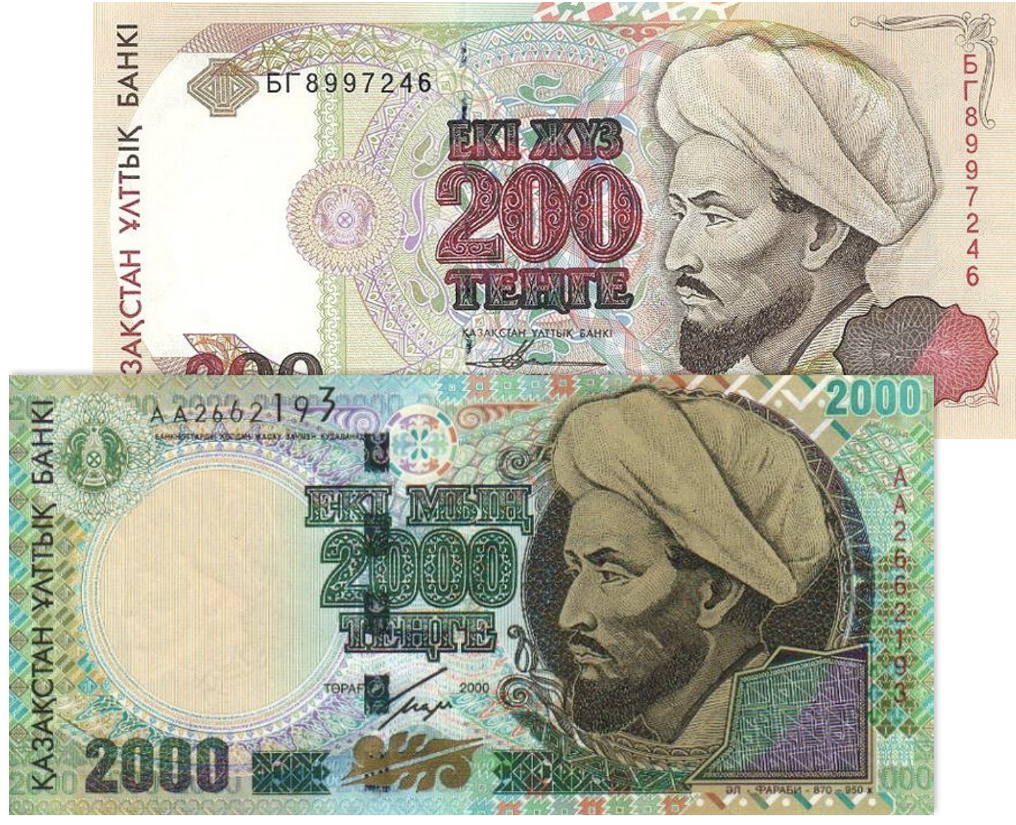 Khazakstani tenge bills (200, 2000). Images courtesy of author.