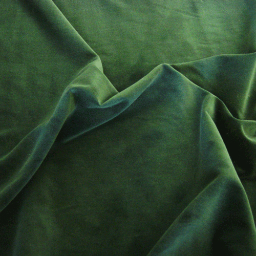 Cotton velvet in green, FabricUK.