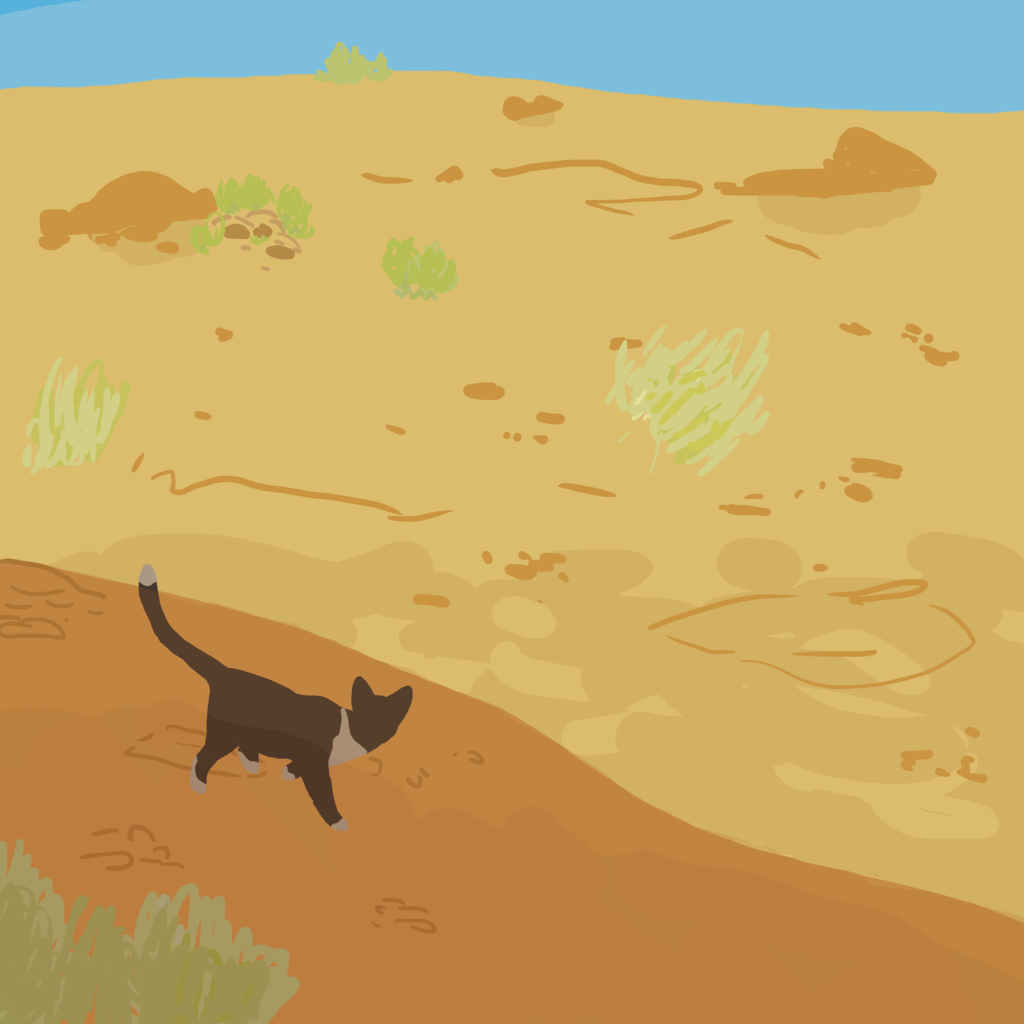 Desert Cat by    crepuscine    (2014). Digital illustration.
