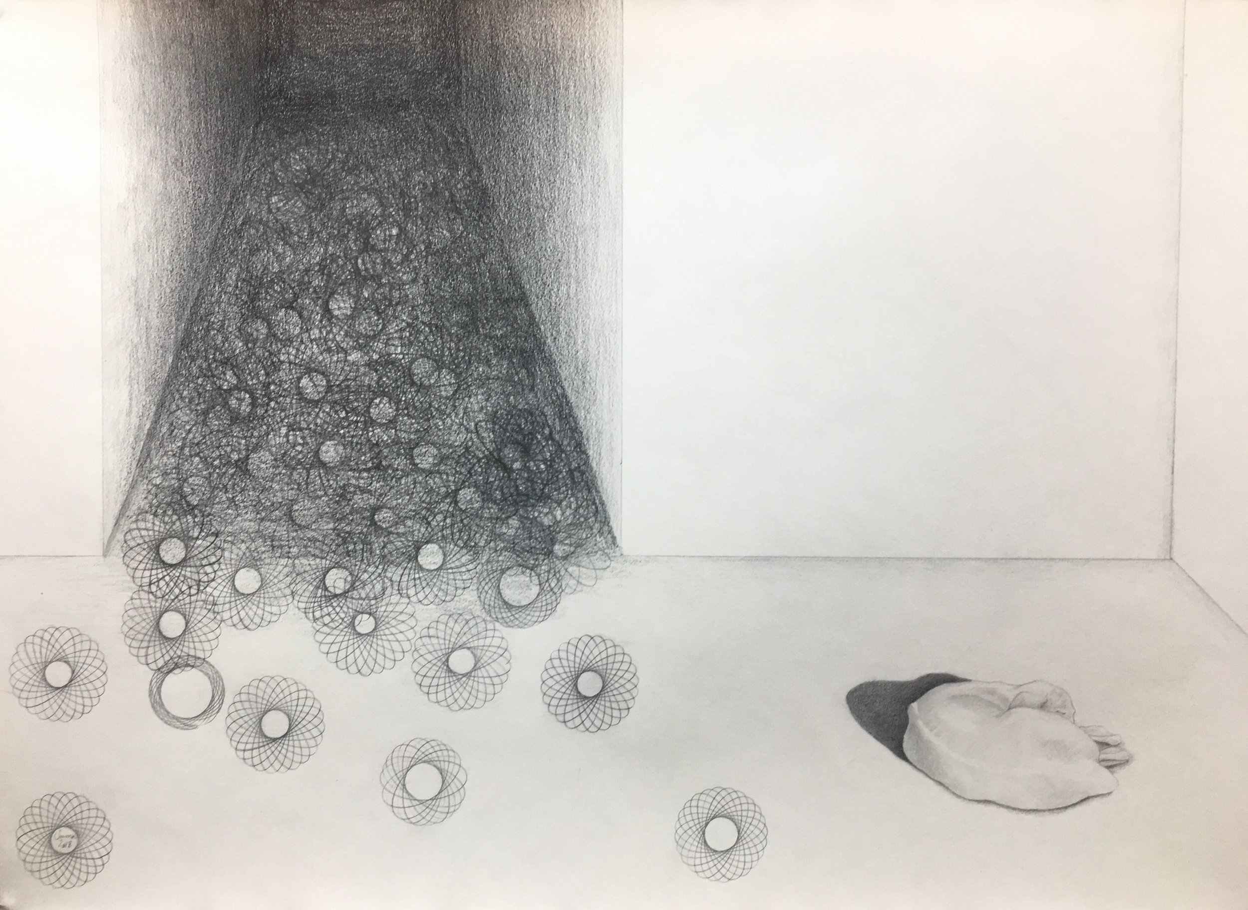 Darkness Sleeping Through, pencil on paper, 42 x 59 cm, 2018