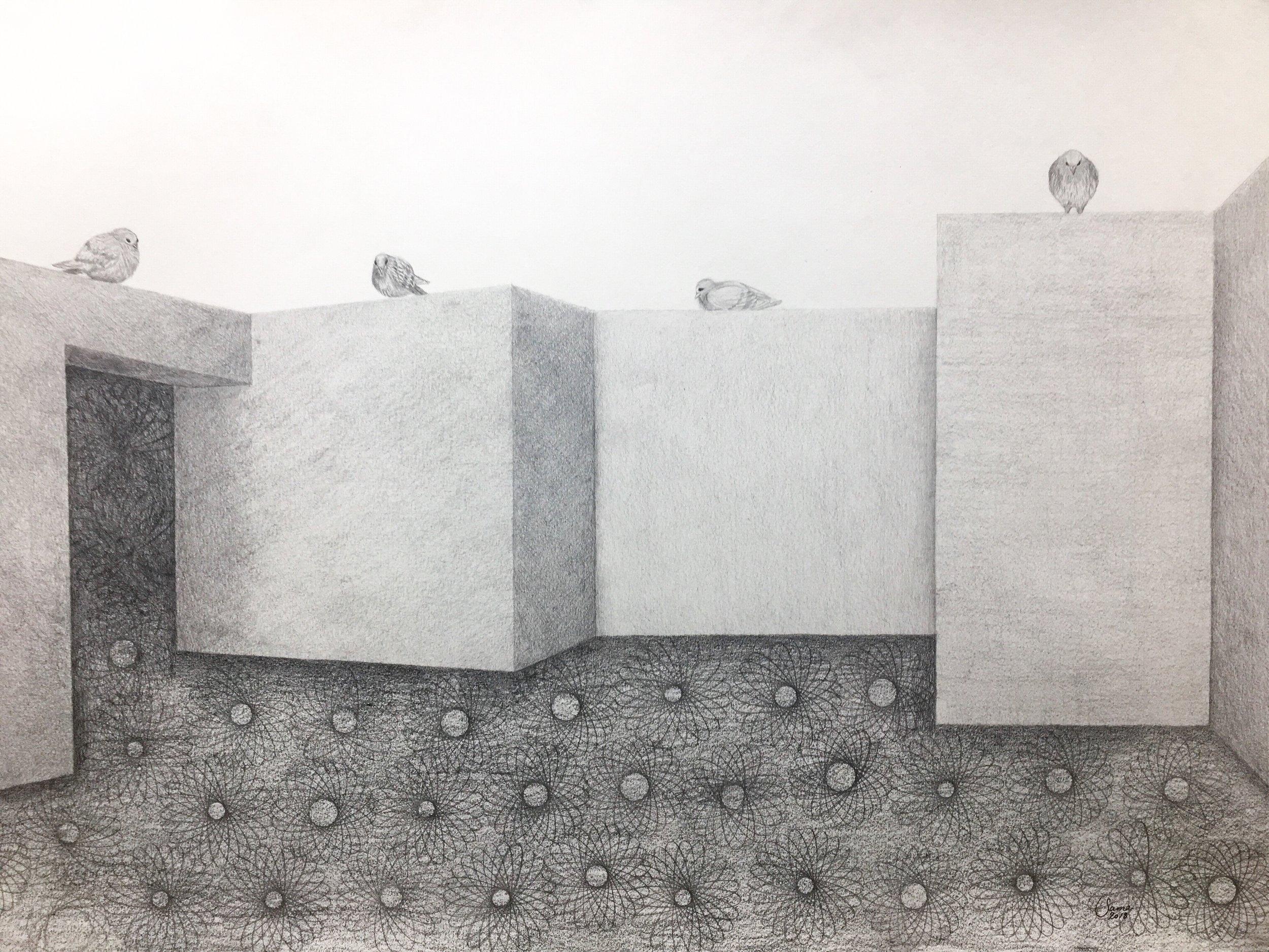 Bird's Eye View, pencil on paper, 42 x 59 cm, 2018