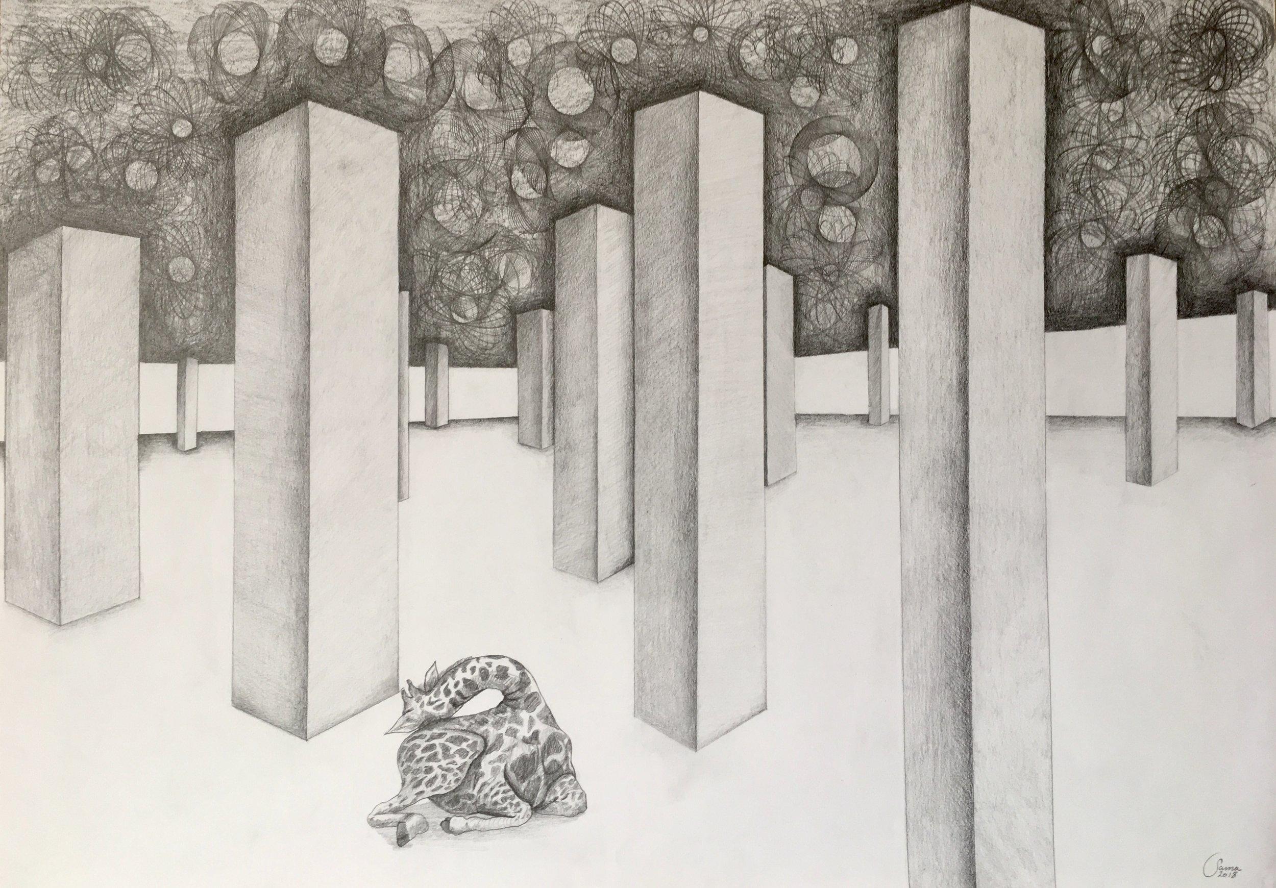 Giraffe Parking Lot, pencil on paper, 42 x 59 cm, 2018