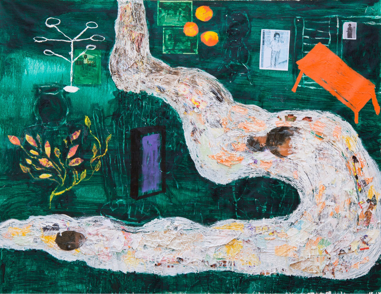 Nsuteen Buom (A River with a Room), 2017, mixed media (acrylics, wax, photographs) on canvas, 140 cm x 183 cm
