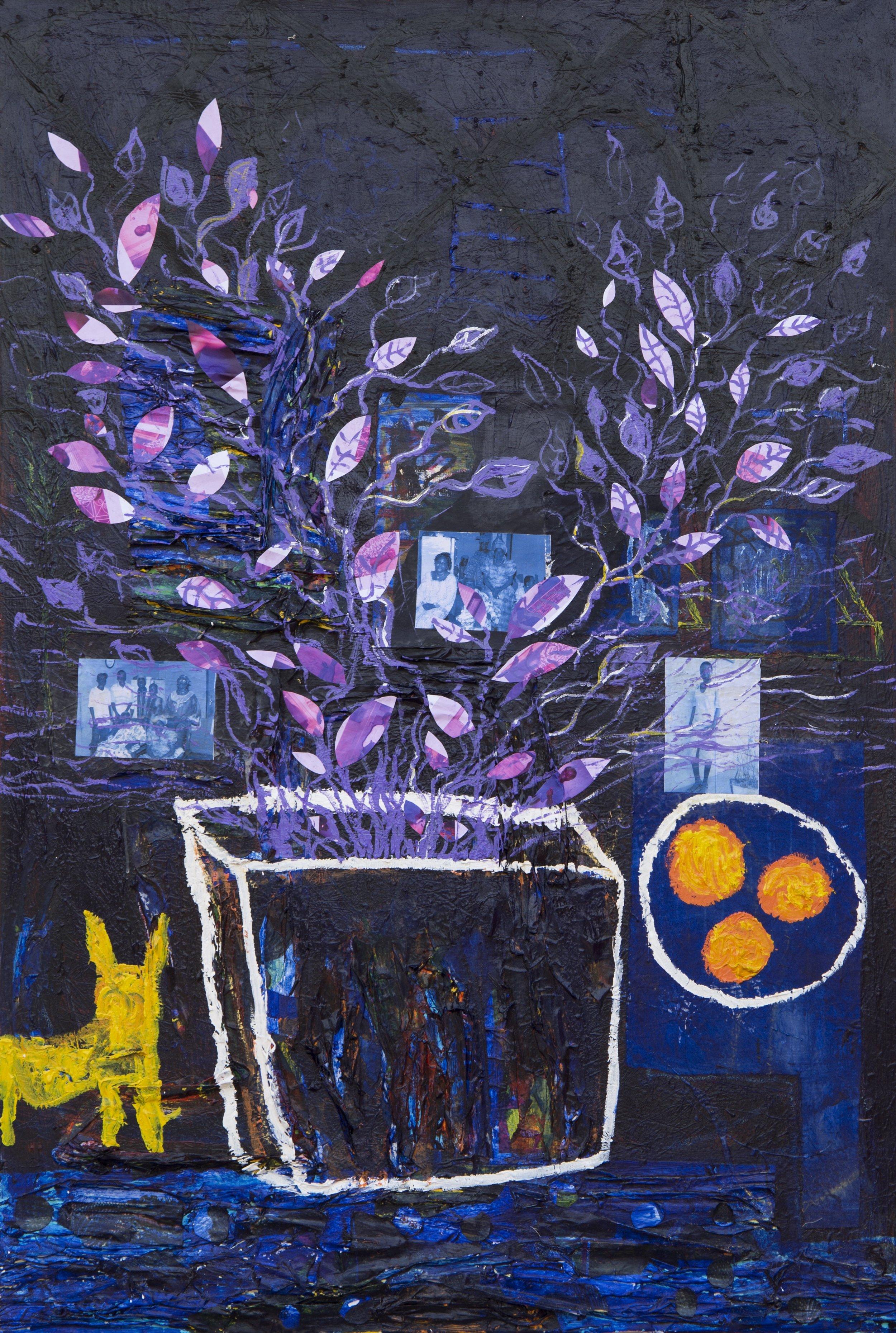 Akutu dua ene okra a oda gyam (Orange, Tree, and Cat on Fire ), 2017, mixed media (acrylics, wax, photographs) on canvas, 154 cm x 102 cm
