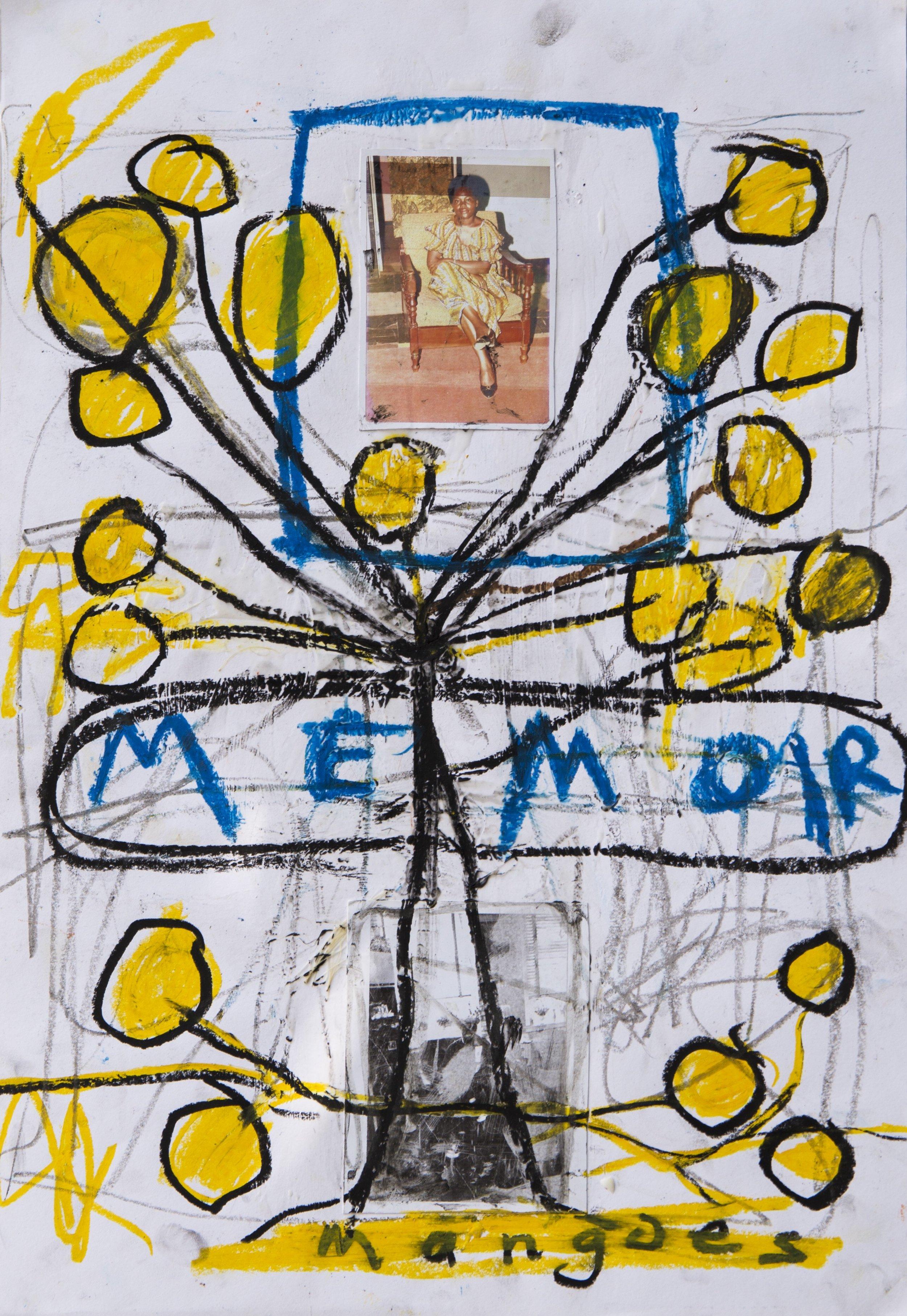 Memoir, 2017, mixed media (charcoal, oil stick, wax) on paper, 60 cm x 42 cm