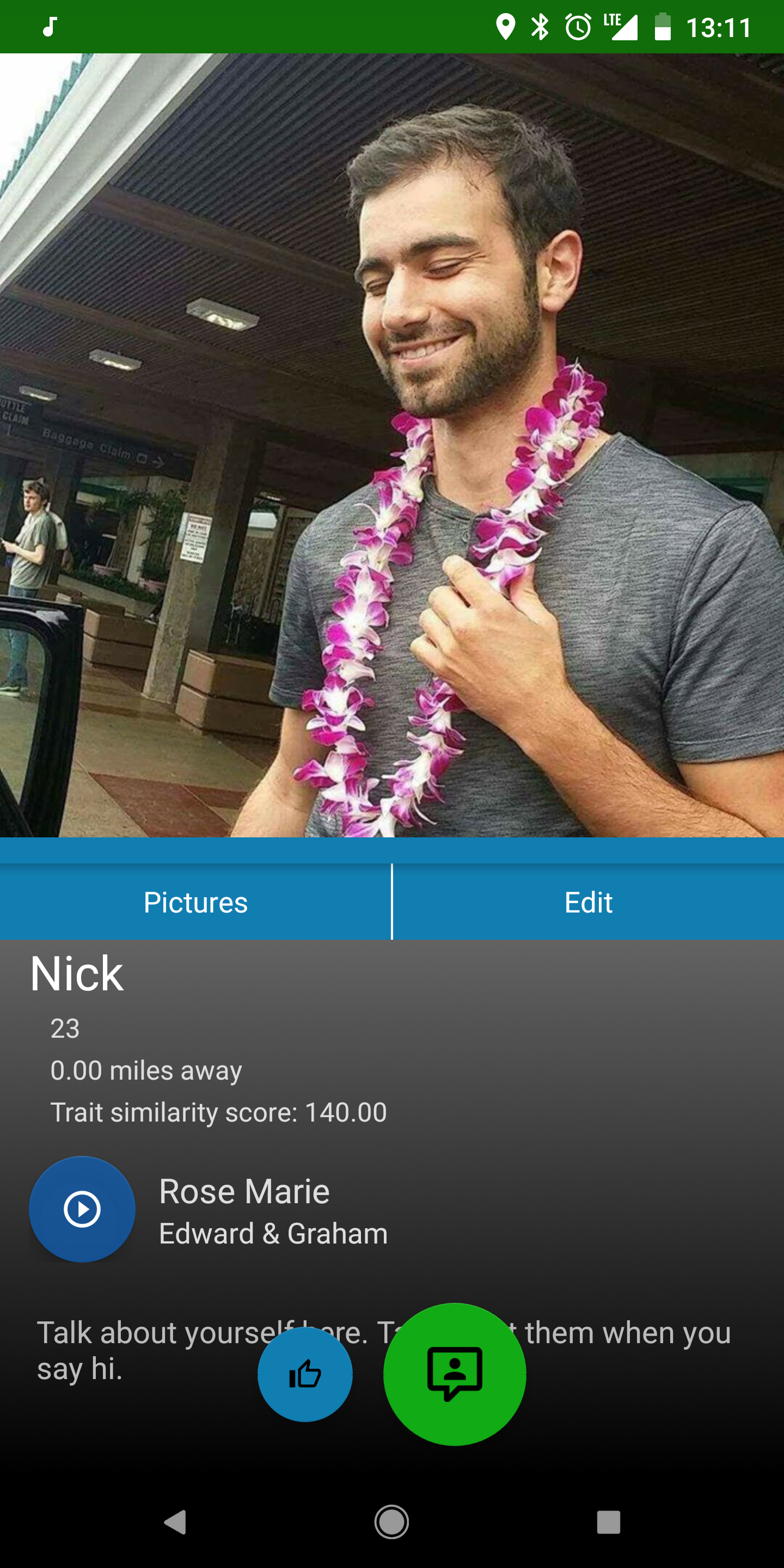 How Nick's profile appears on his app, Strum 86.
