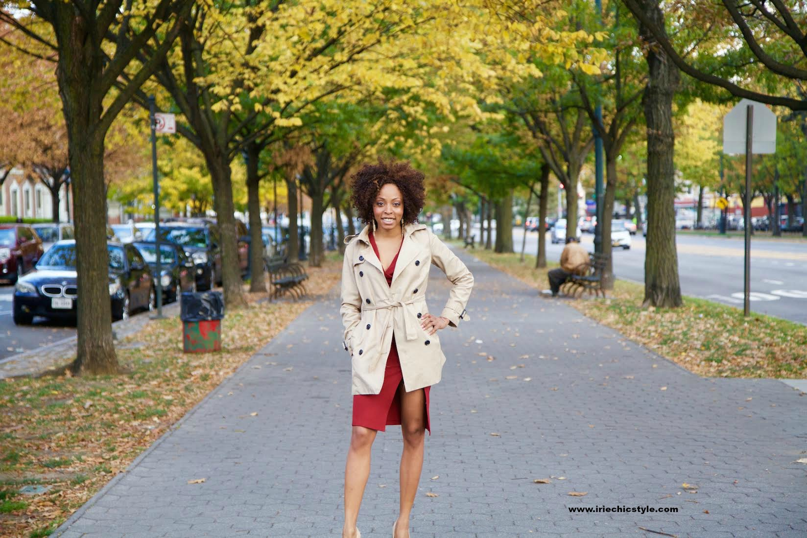 fall fashion - trench coat and dress