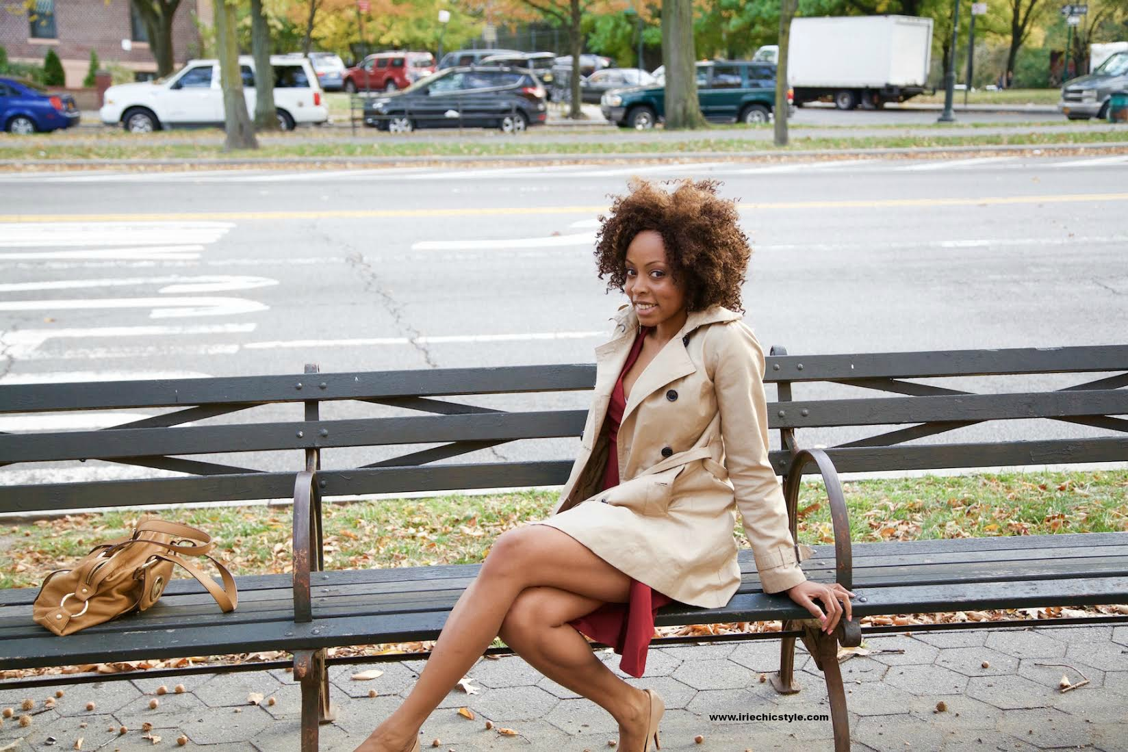 dress and trench coat