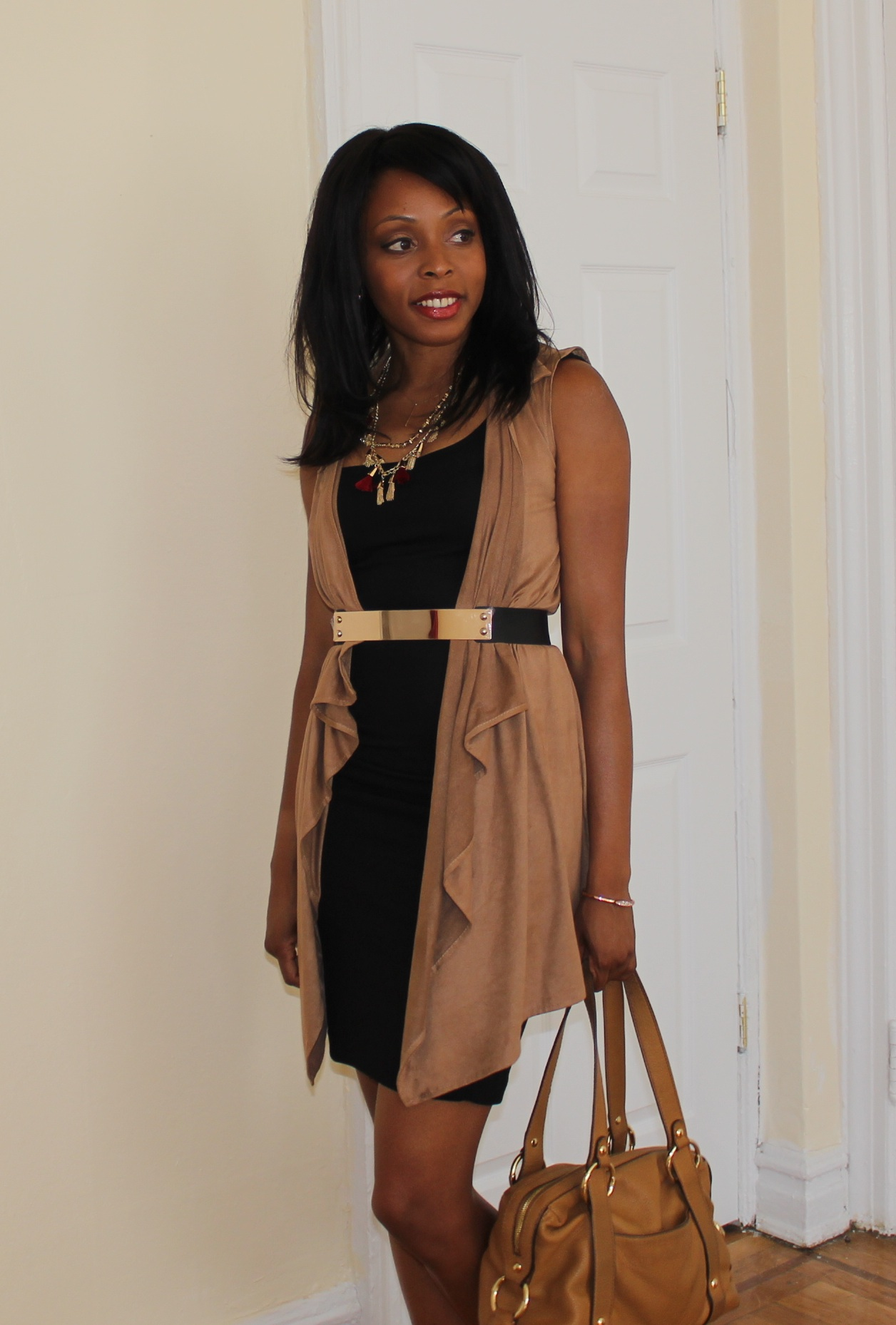 dress paired with vest