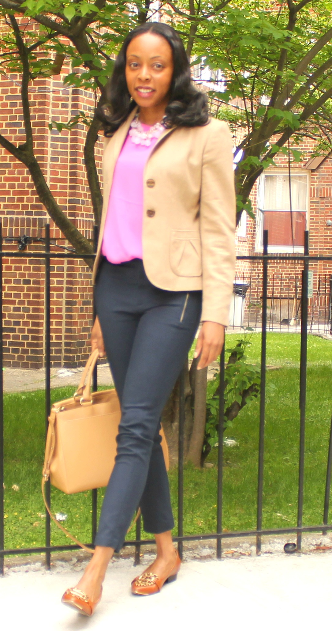 cropped navy pants and cream blazer