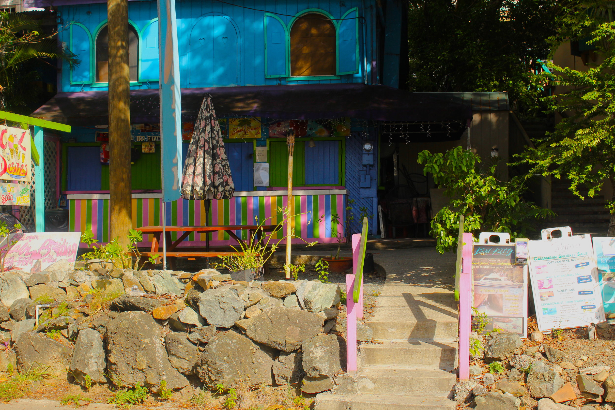 A colorful local business in Coral bay, St. John