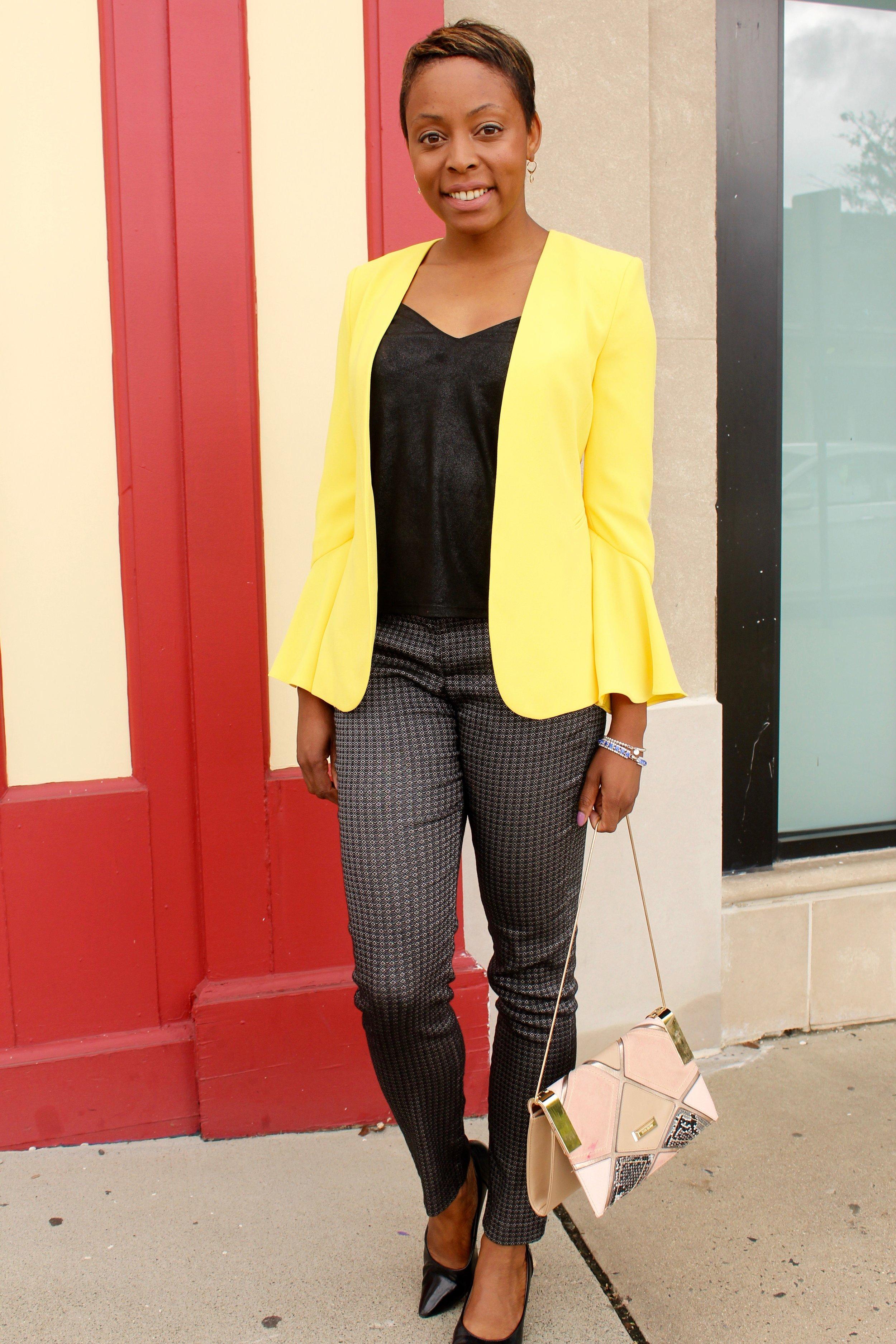 bold yellow blazer outfit