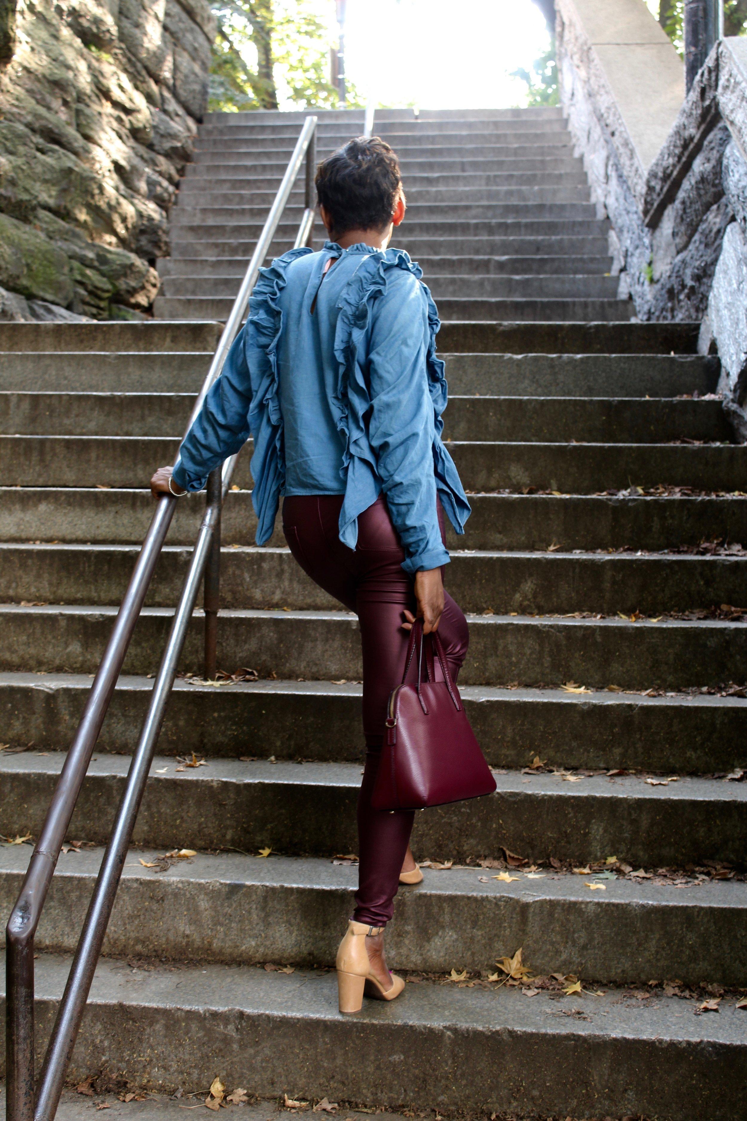 burgundy Faux leather pants