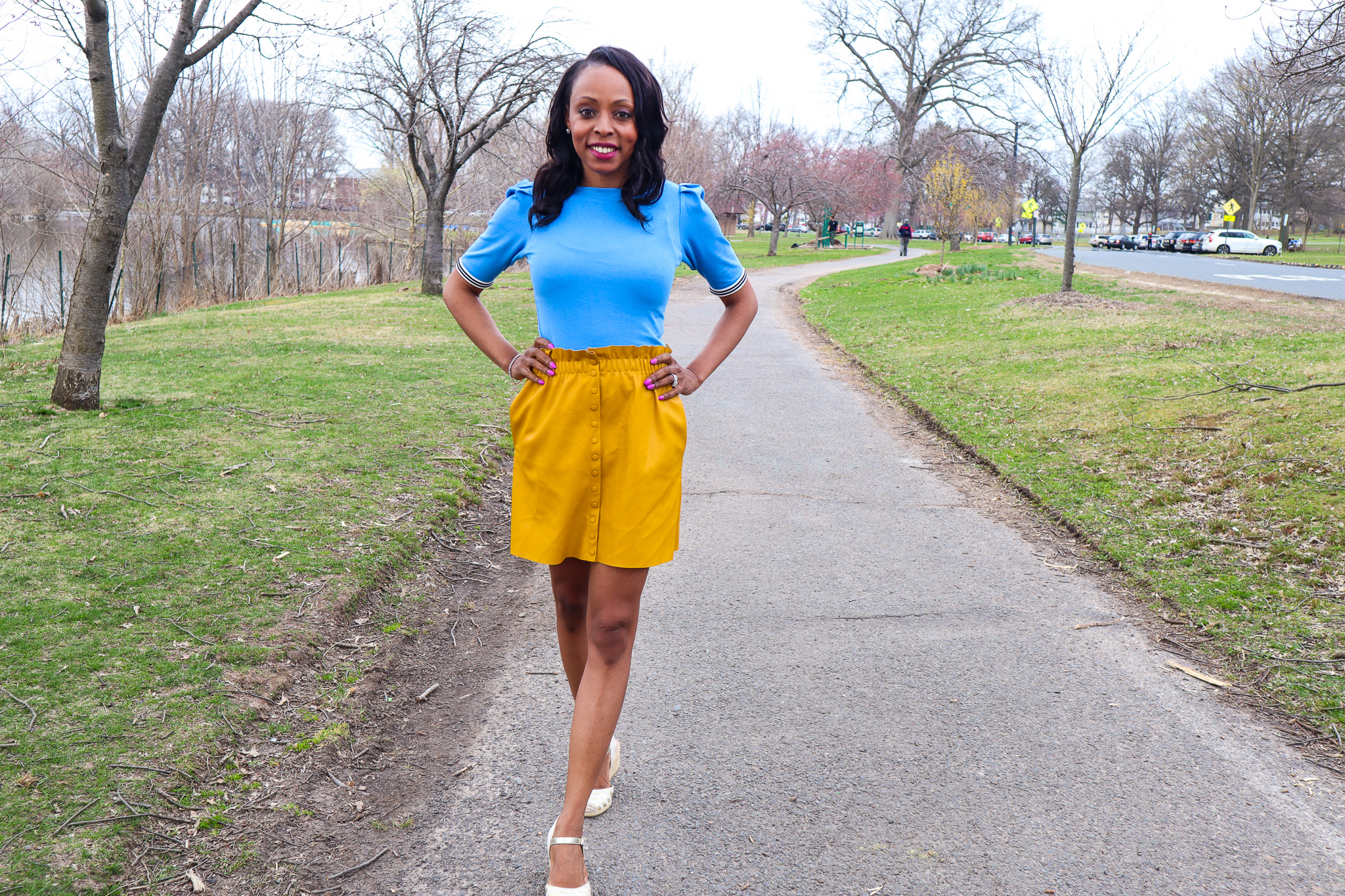 colorblocking spring outfit yellow and blue