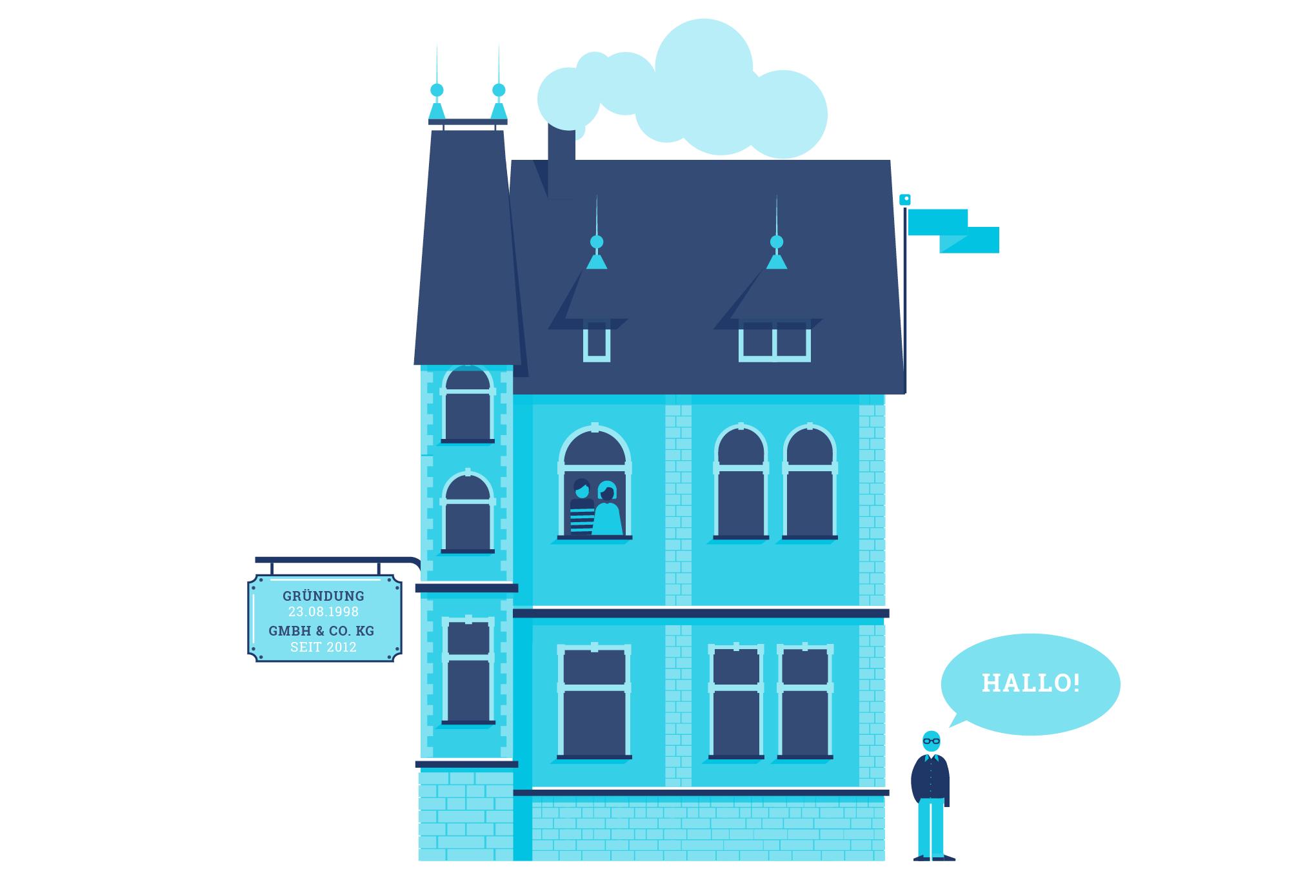 Illustration von Haus aus Backstein für additiv pr. Webdesign von den sons of ipanema in Köln.