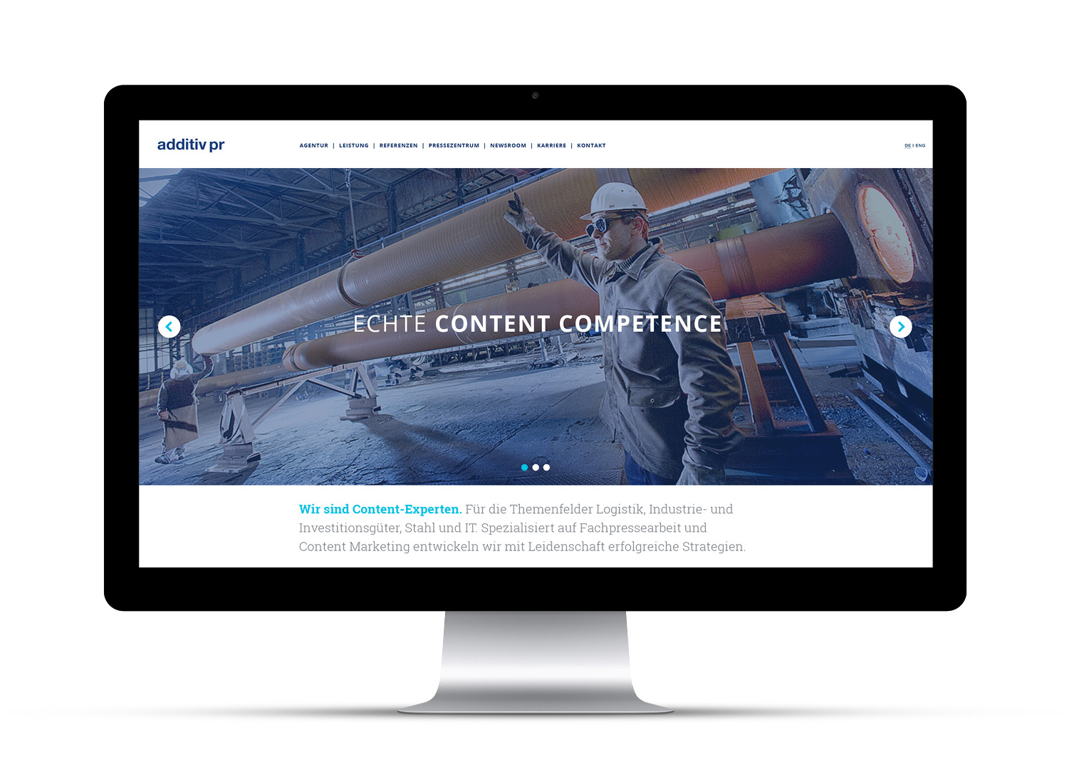 Webdesign for additiv pr, graphic design by sons of ipanema from cologne.