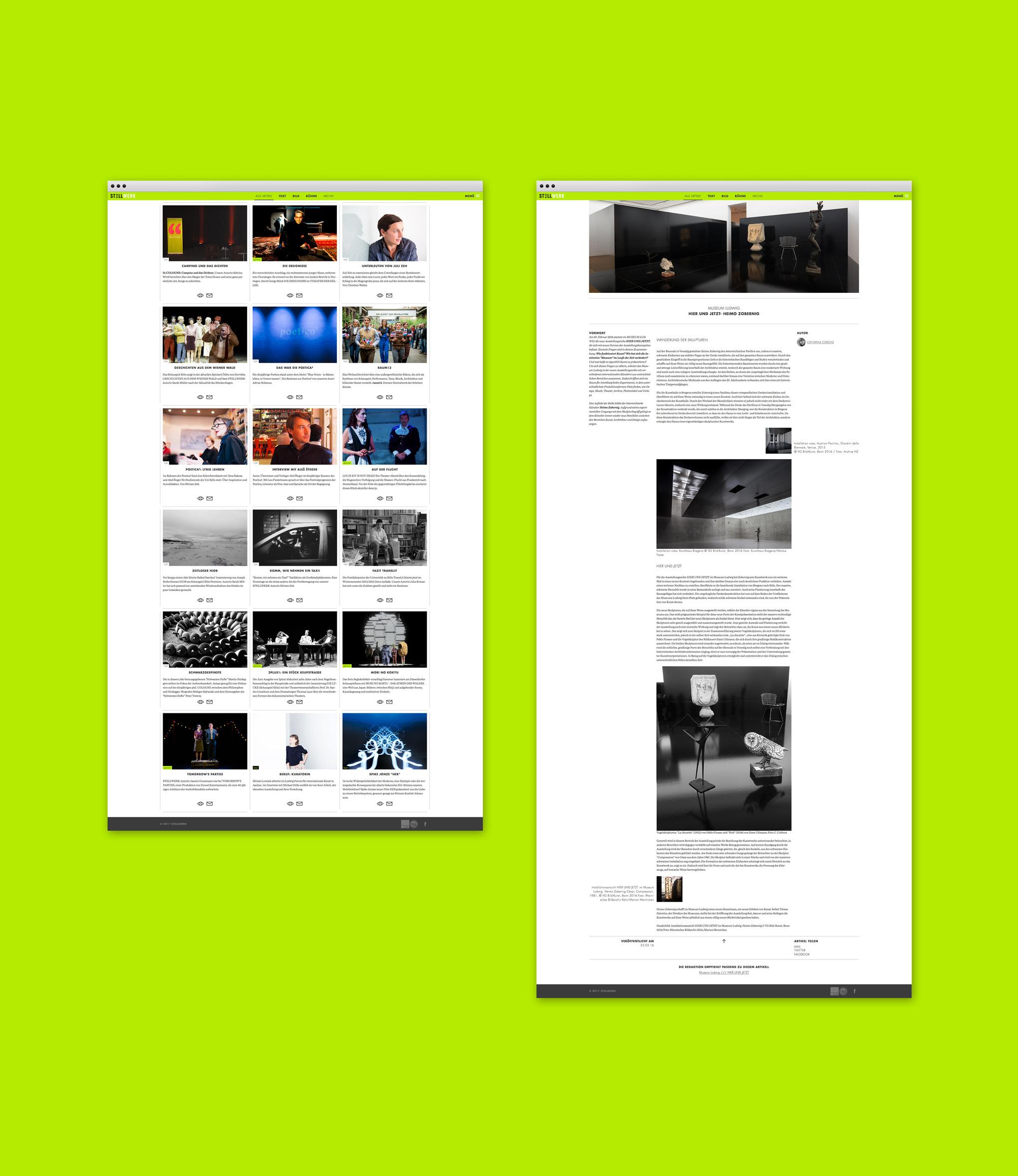 Webseitengestaltung für das Online-Magazin Stellwerk von dem kölner Grafikbüro sons of ipanema.