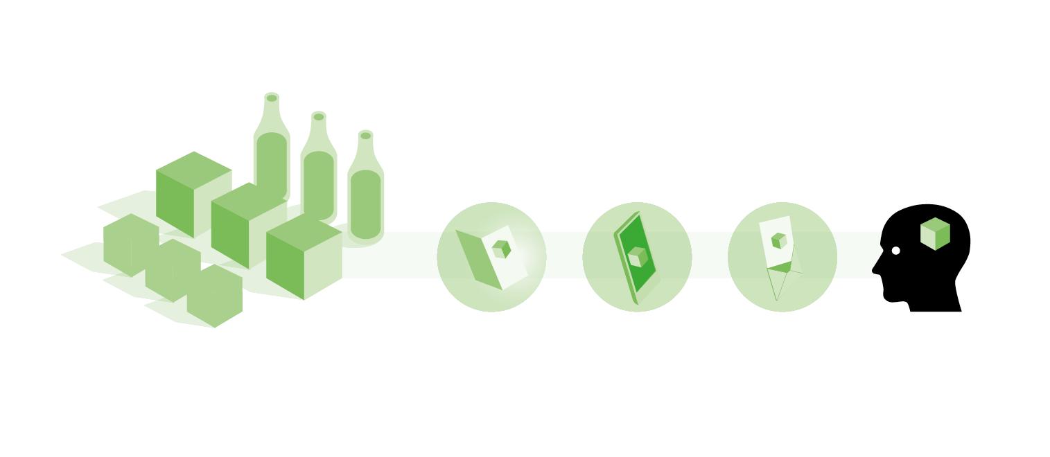 Illustration Box, Flasche, Mobil, Briefumschlag und Kopf für Lago4 von Comosoft. Gestaltung von den sons of ipanema aus Köln.