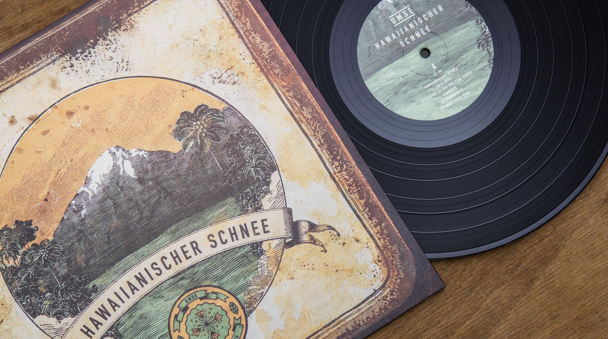 """Artwork auf Vinyl für das Album """"Hawaiianischer Schnee"""" von Umse. Illustration und Gestaltung von den sons of ipanema."""