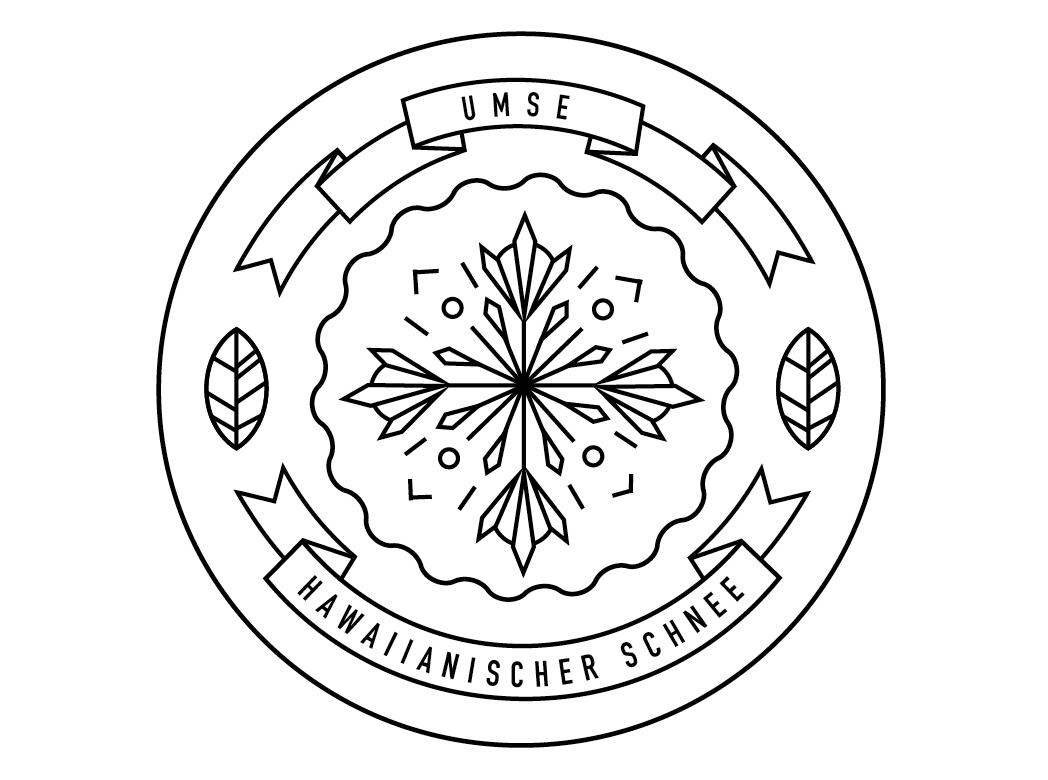 """Logo für das Album """"Hawaiianischer Schnee"""" von Umse. Gestaltung von den sons of ipanema aus Köln."""