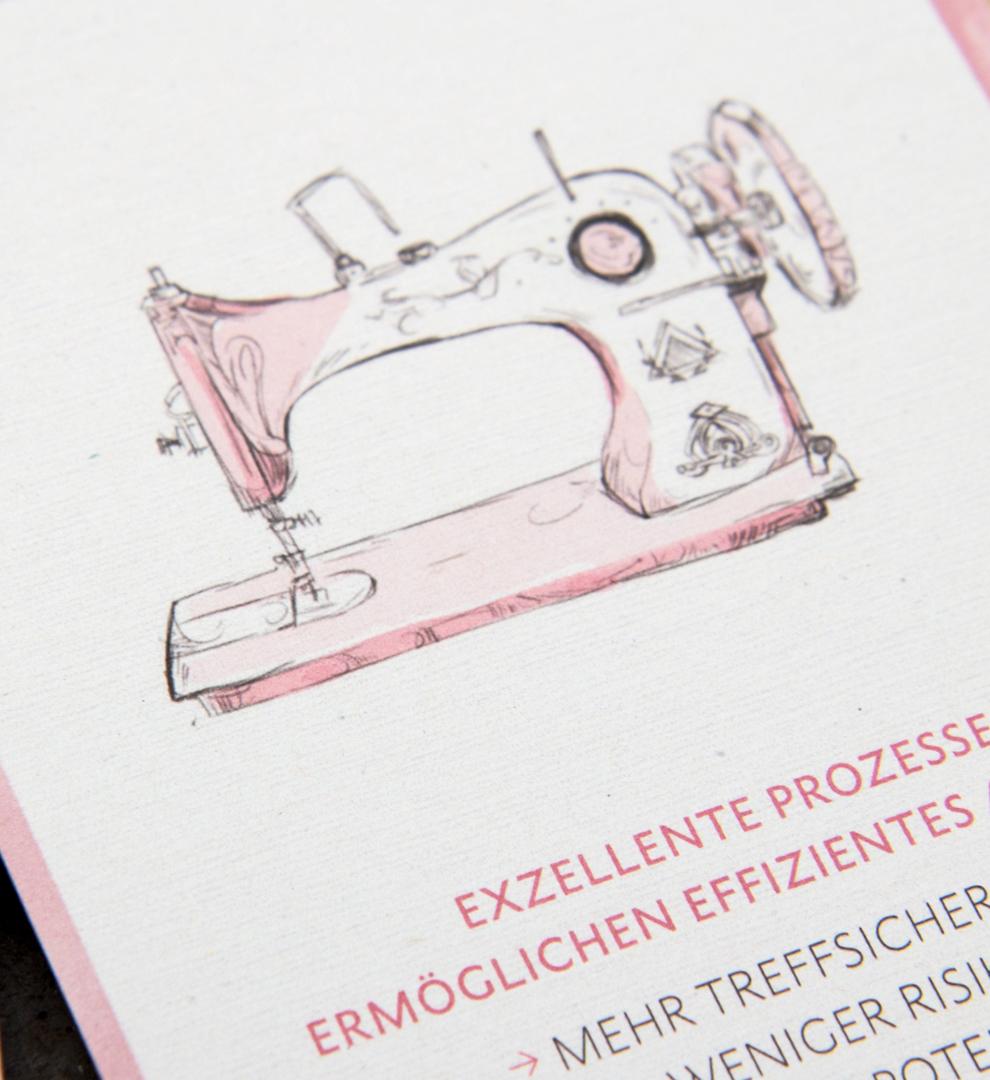 Illustration einer Nähmaschine / illustration of a sewing machine / mit Versalien Typografie / with Capital letters für den Pocket Guide von Street One von den sons of ipanema einem Grafikbüro aus Köln.