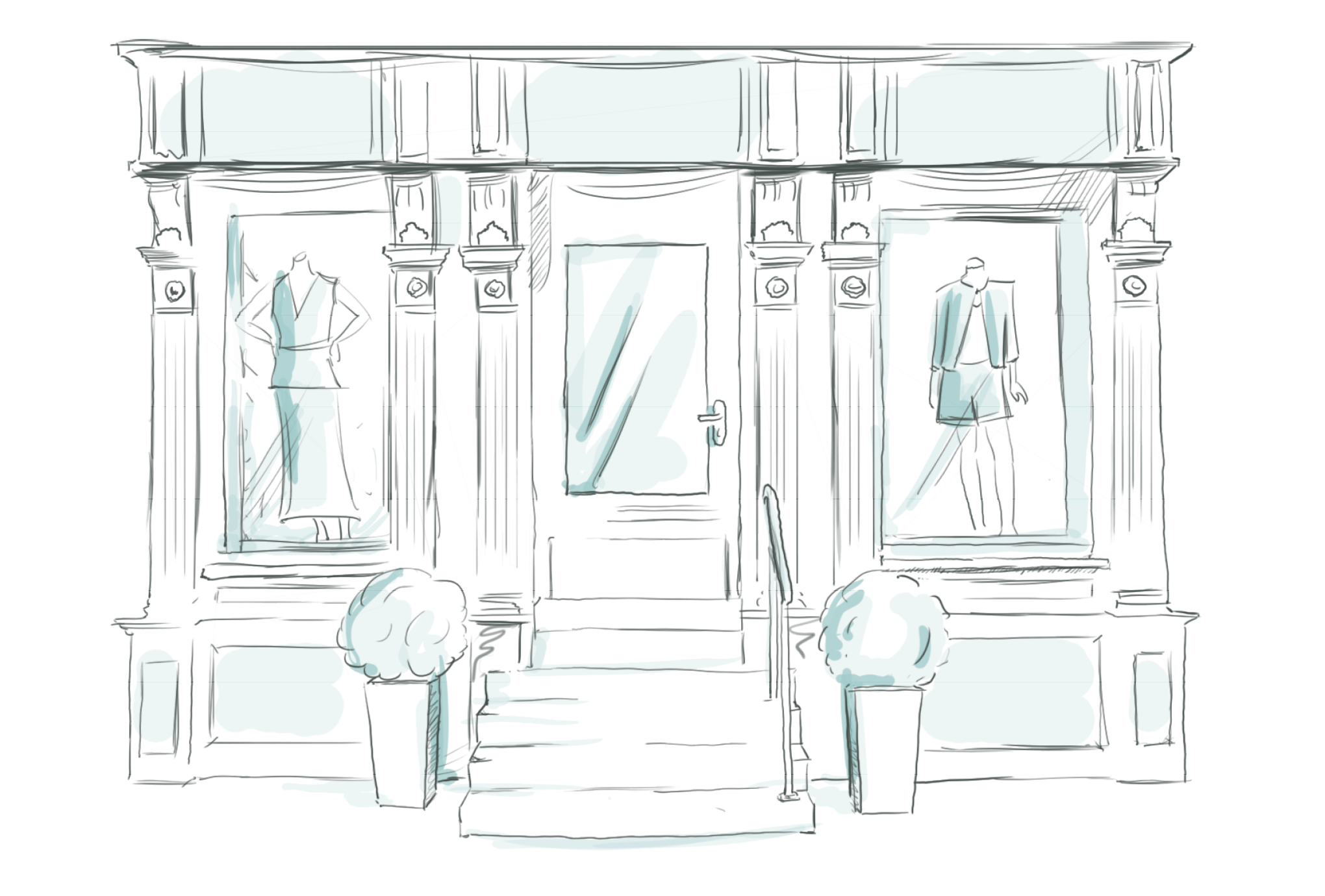 Illustration of a shop window with mannequin, stairs and little trees for Street One by sons of ipanema in cologne.