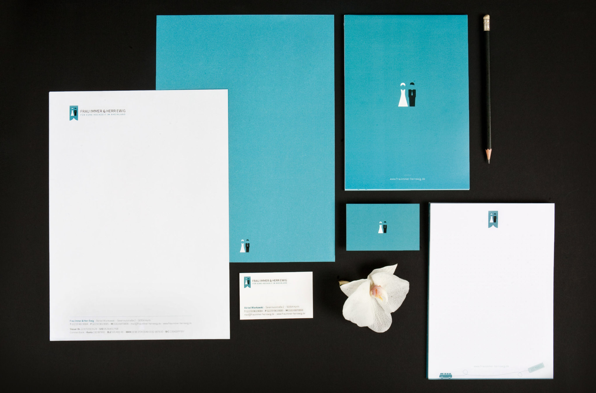 Office equipment (writing paper, business card, notepad) for the wedding planners from the rhineland Frau Immer und Herr Ewig by sons of ipanema a graphic design studio from cologne.