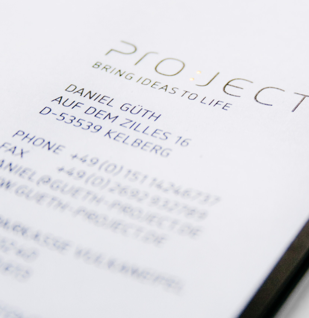 Corporate Design, Briefpapier für Project (Bring Ideas to Life), entworfen von den sons of ipanema, einer Kreativ Agentur aus Köln.