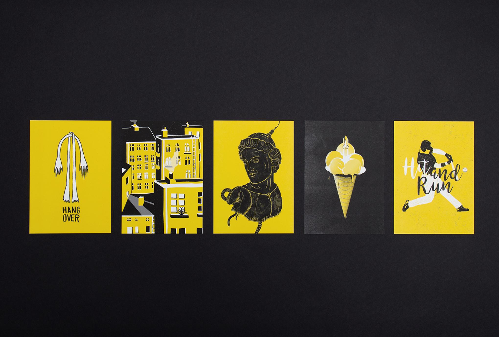 Set aus Illustrationen Hangover (Arme und Beine), Hinterhof, Büste, Roboter, Eis, Waffel, Rakete, Start, Hit and Run, Baseball. Diese schwarz, weiß und gelben Illustrationen entstanden für die Hilfsaktion 50/50 von den sons of ipanema einer Grafikagentur in Köln.