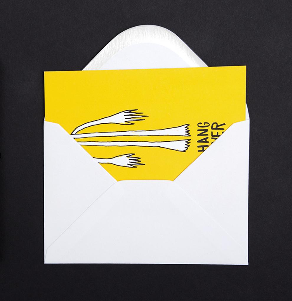 Hangover Illustration im Briefumschlag von den sons of ipanema aus Köln.