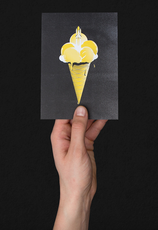 Illustration Raketenstart aus Eistüte für die Hilfsaktion 50/50 für den Kölner Flüchtlingsrat e.v. von den sons of ipanema aus Köln.
