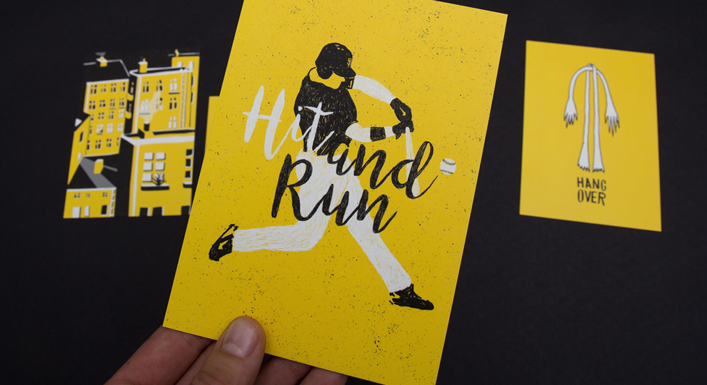 Set aus 5 Illustrationskarten: Hangover (Arme und Beine), Hinterhof, Hit and Run, Baseball, Trikot, Helm, Baseballschläger. Entstanden im Rahmen von der 50/50 Aktion von den sons of ipanema, einem Grafik Büro aus Köln.
