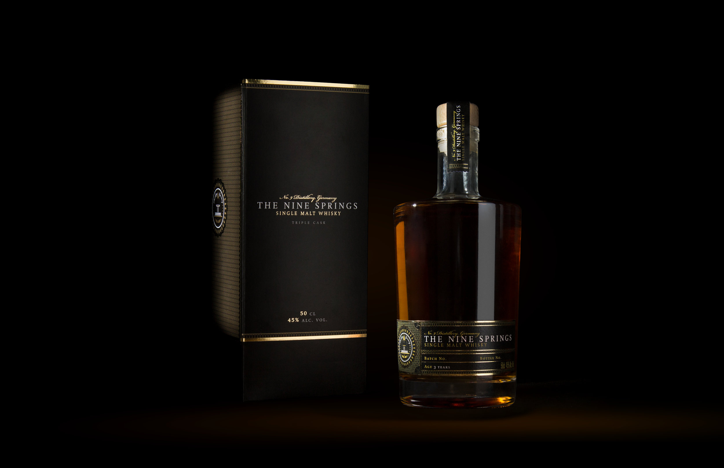sons of ipanema Verpackungsdesign für The Nine Springs Single Malt Whiskey