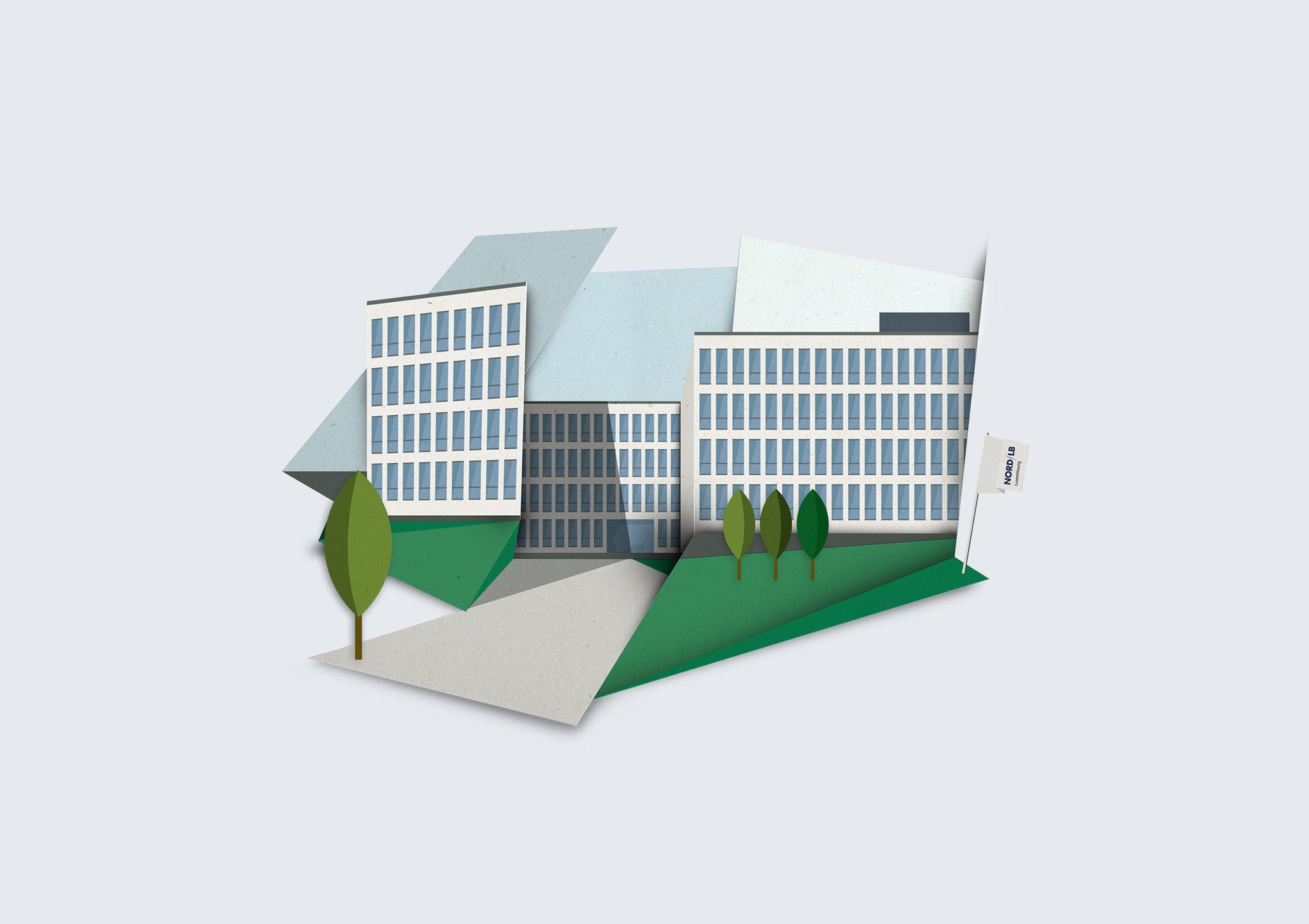 Illustration des Firmengebäudes der NORD/LB Luxemburg