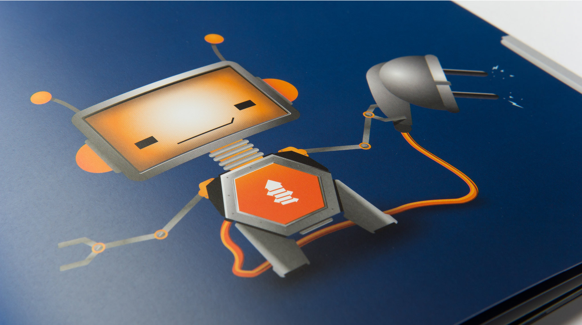 Character Design und Illustration Roboter Paul mit Stecker und Kabel für Portlight von den sons of ipanema Grafikagentur aus Köln