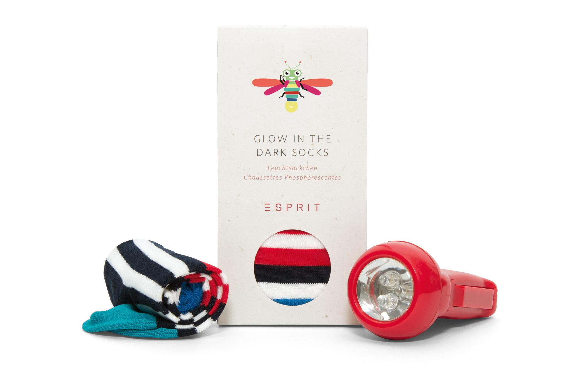 Socken-Verpackung für die Glow in the dark Kindersocken von Esprit. Design, Grafik und Illustrationen von den sons of ipanema aus Köln.