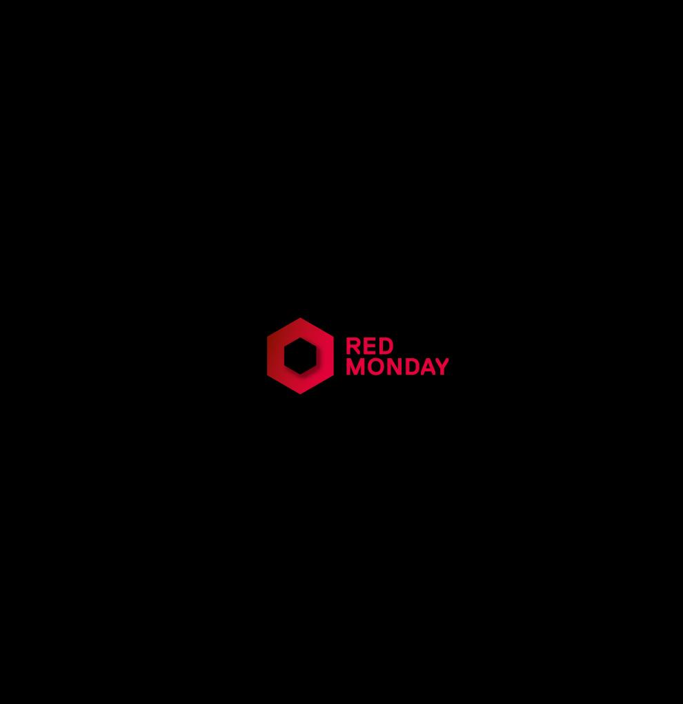 Logo auf schwarzem Hintergrund für das Gastro-Event Red Monday von Red Bull. Gestaltet von den sons of ipanema in Köln.