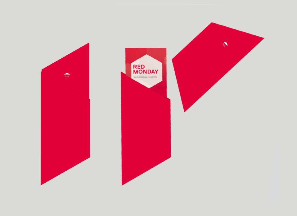 Corporate Design, Eintrittskarten für das Gastro-Event Red Monday von Red Bull von der Kreativagentur sons of ipanema aus Köln.