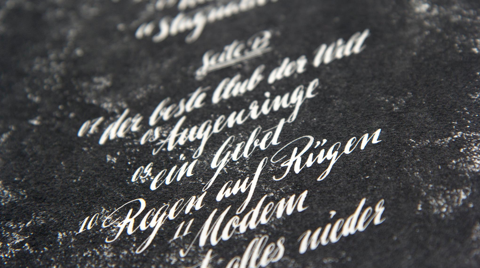 Kalligraphie Gestaltung für Love A, anlässlich des Albums Jagd und Hund