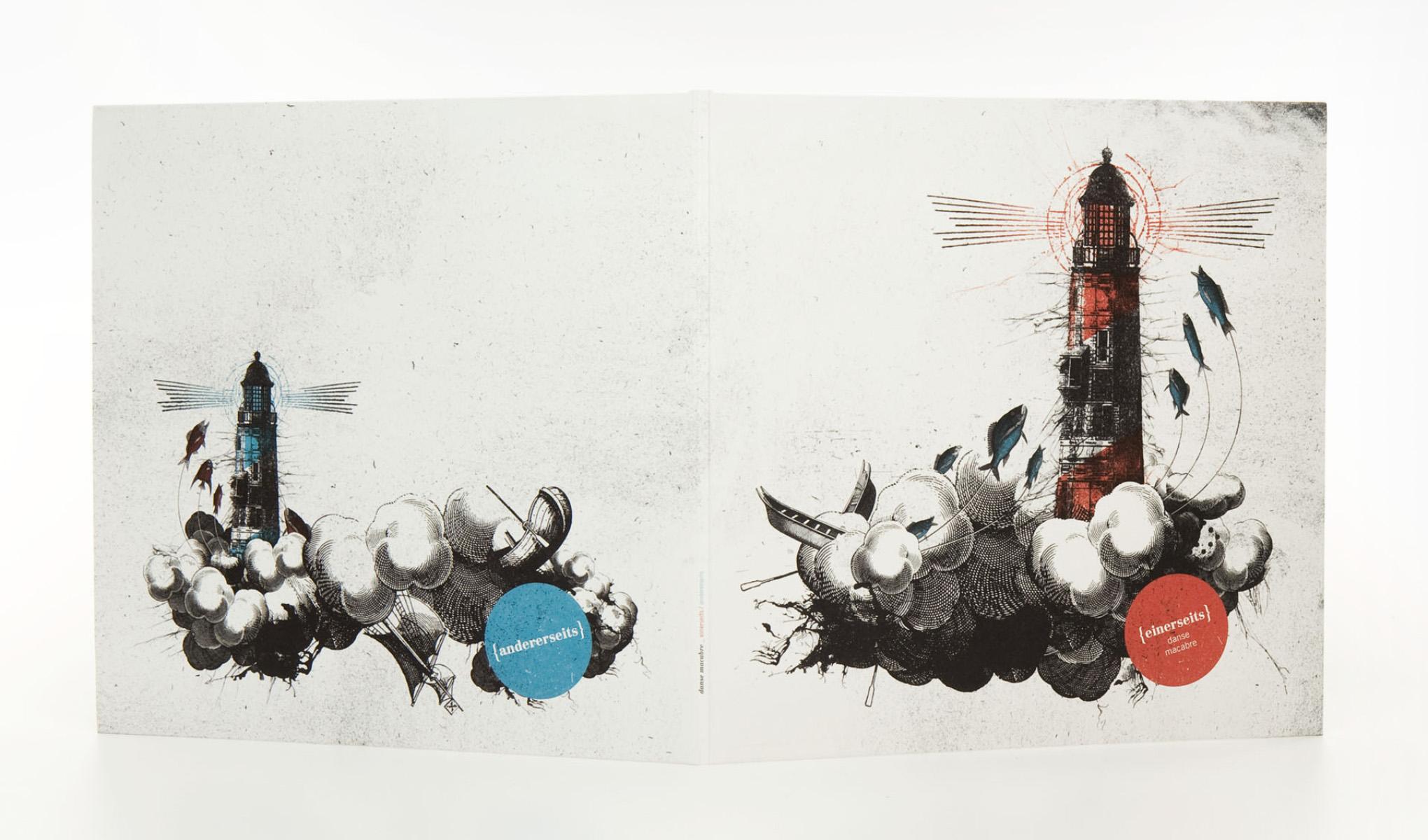 Die sons of ipanema aus Köln haben für die Trierer Band Danse Macabre ein Gatefold-Cover mit Leuchtturm illustriert und collagiert.