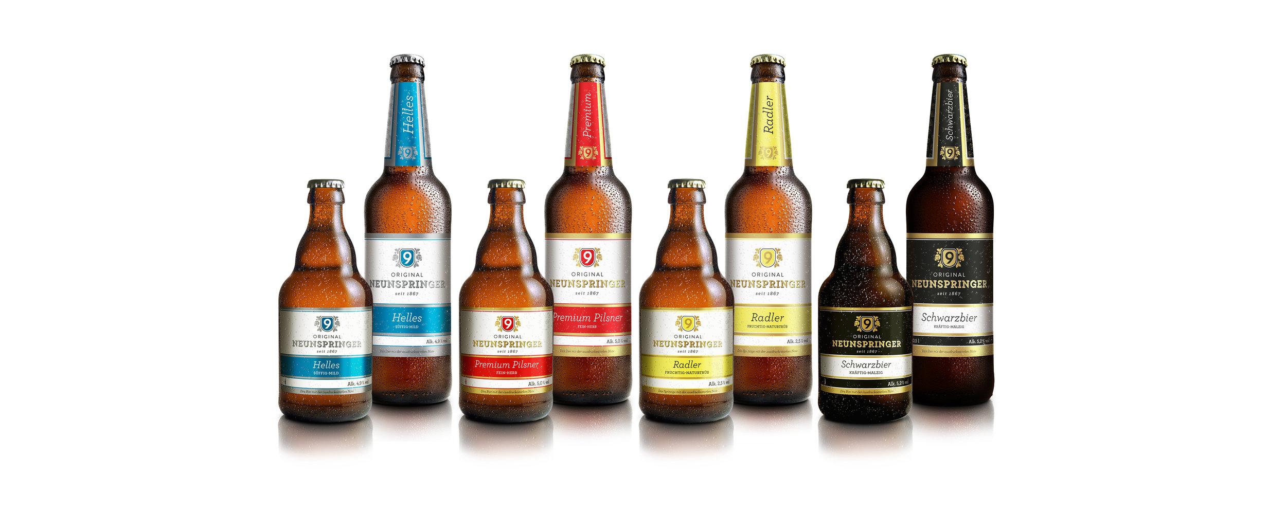 Bier-Kollektion der Brauerei Neunspringe